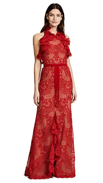 Marchesa Notte Double Ruffle Lace Gown at Shopbop