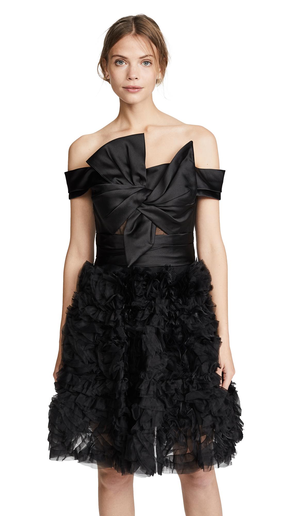 Marchesa Notte Strapless Textured Cocktail Dress
