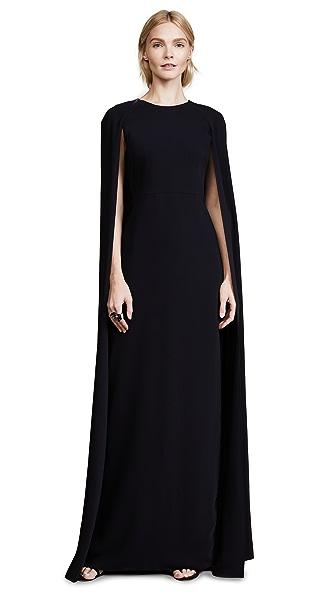 Marchesa Notte Cape Gown In Black