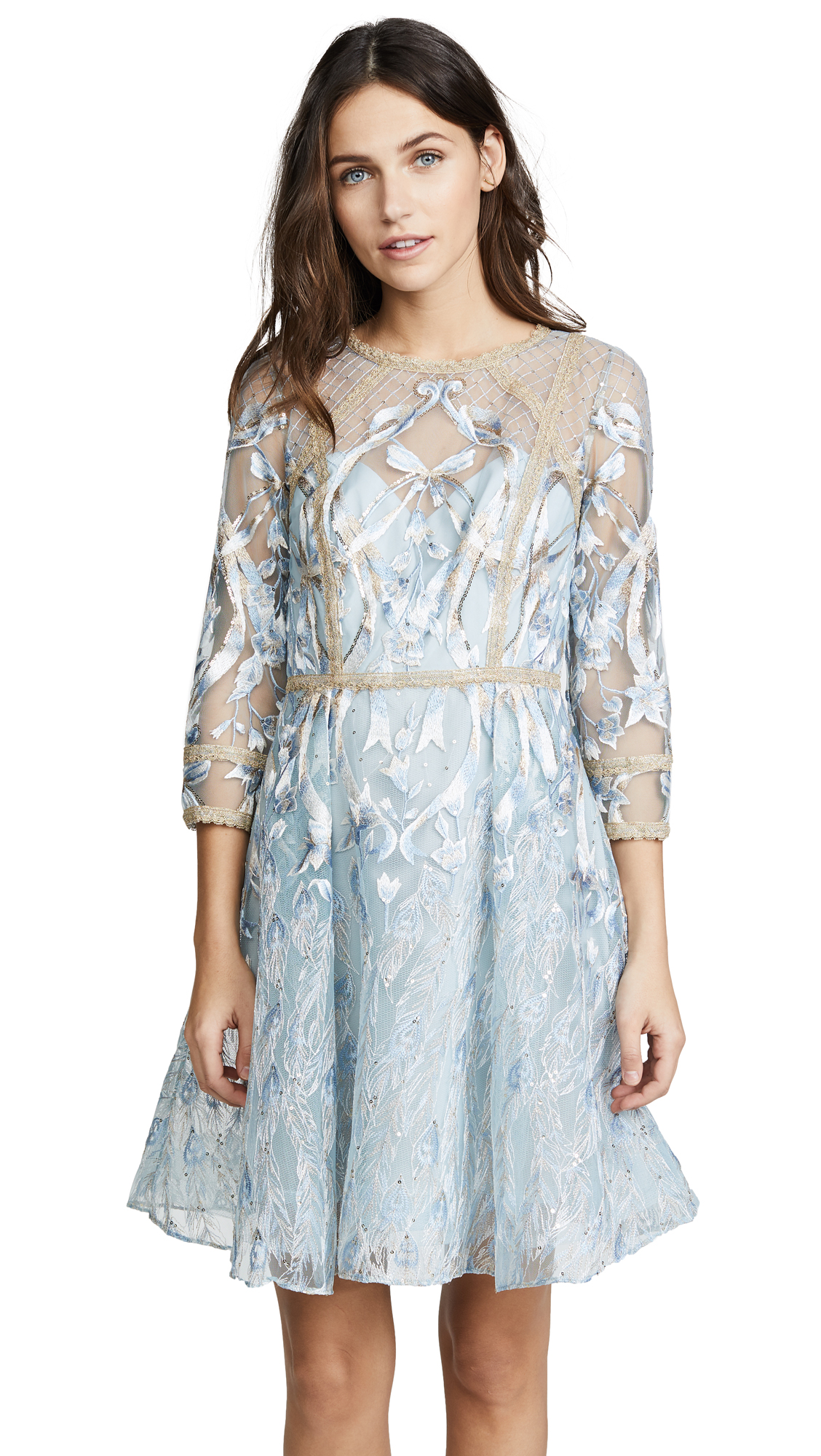 COCKTAIL DRESS WITH METALLIC LACE TRIM