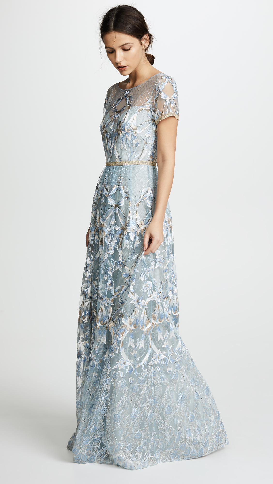 Marchesa Notte Embroidered Gown with Metallic Lace Trim | SHOPBOP