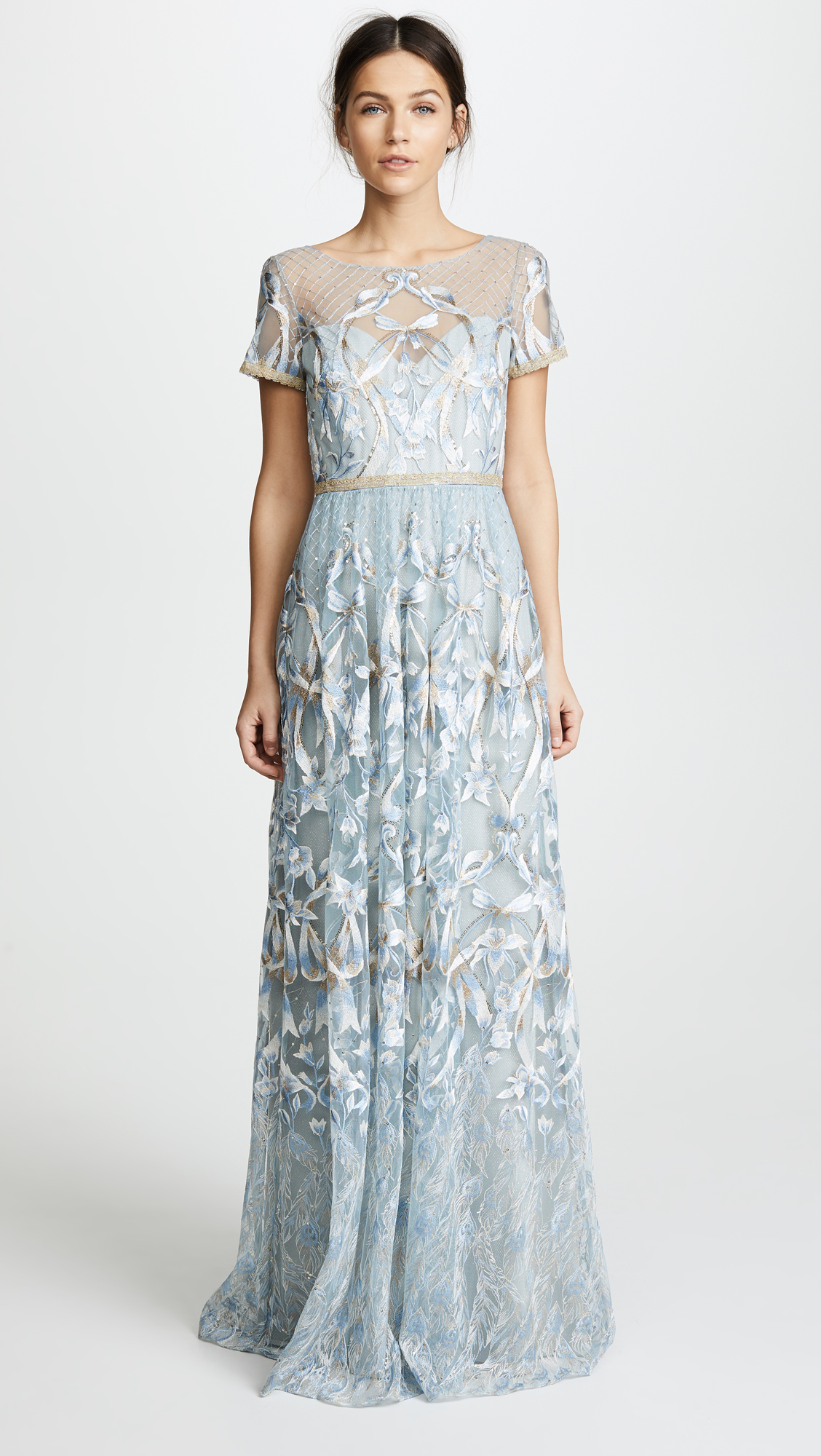 ce8c8b6a116 Marchesa Notte Embroidered Gown With Metallic Lace Trim In Light Blue