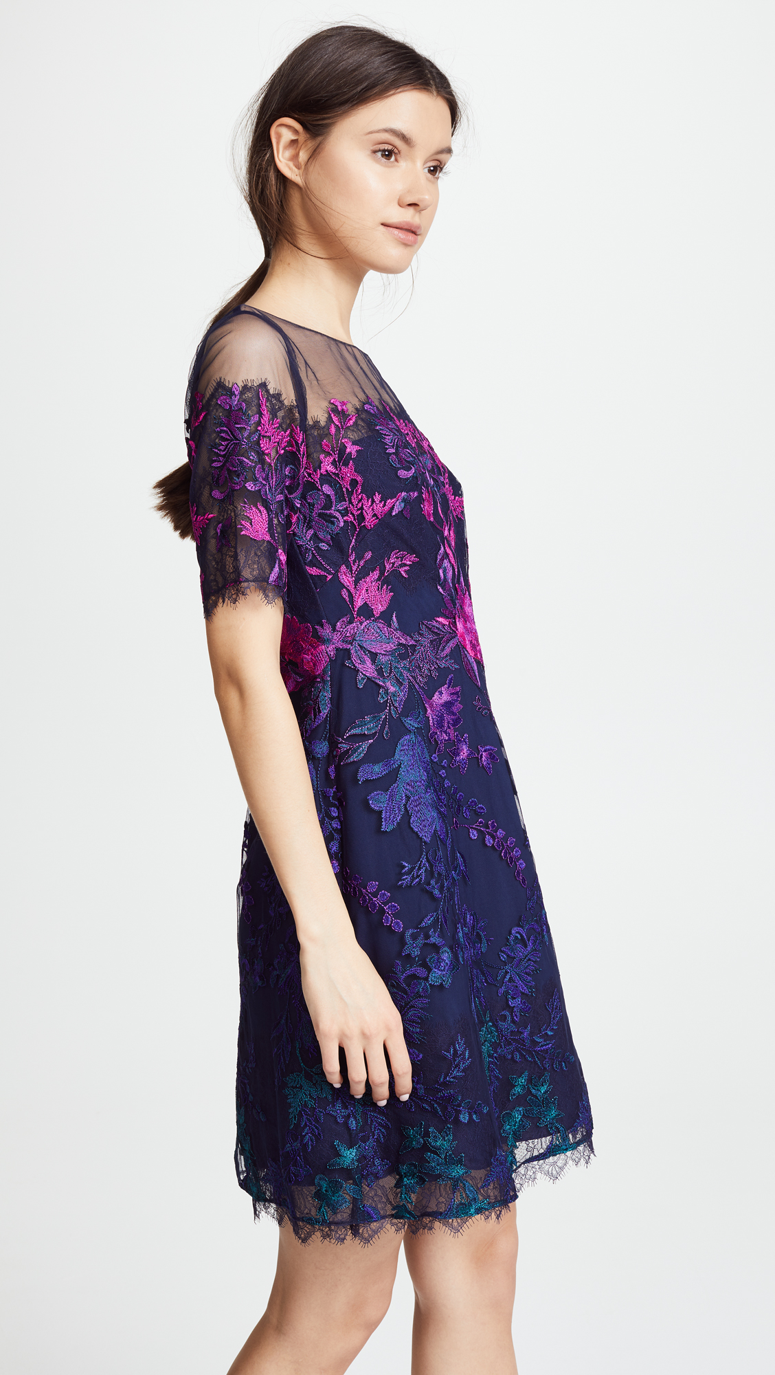 Marchesa Notte Ombre Cocktail Dress with Floral Embroidery | SHOPBOP