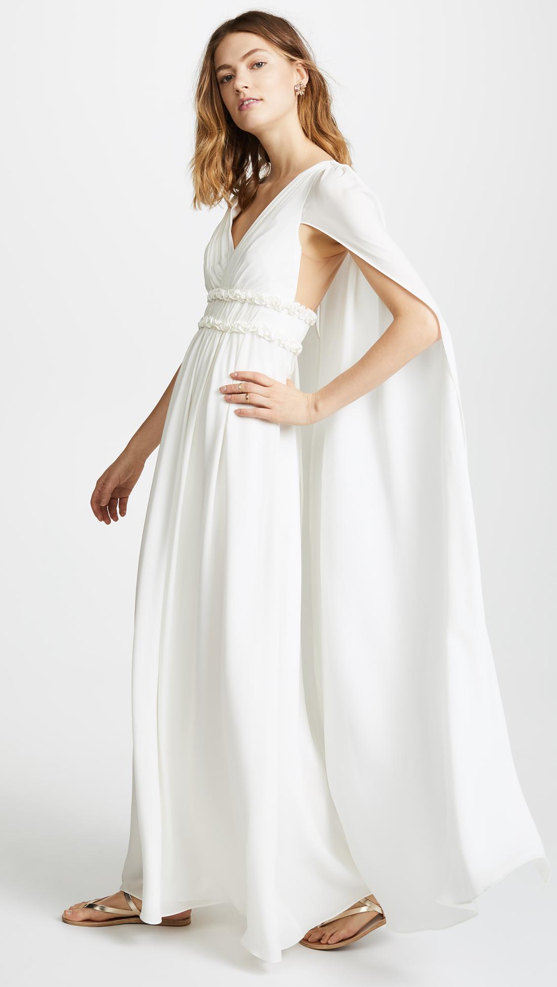 3373c3e615f Marchesa Notte V Neck Silk Cape Gown