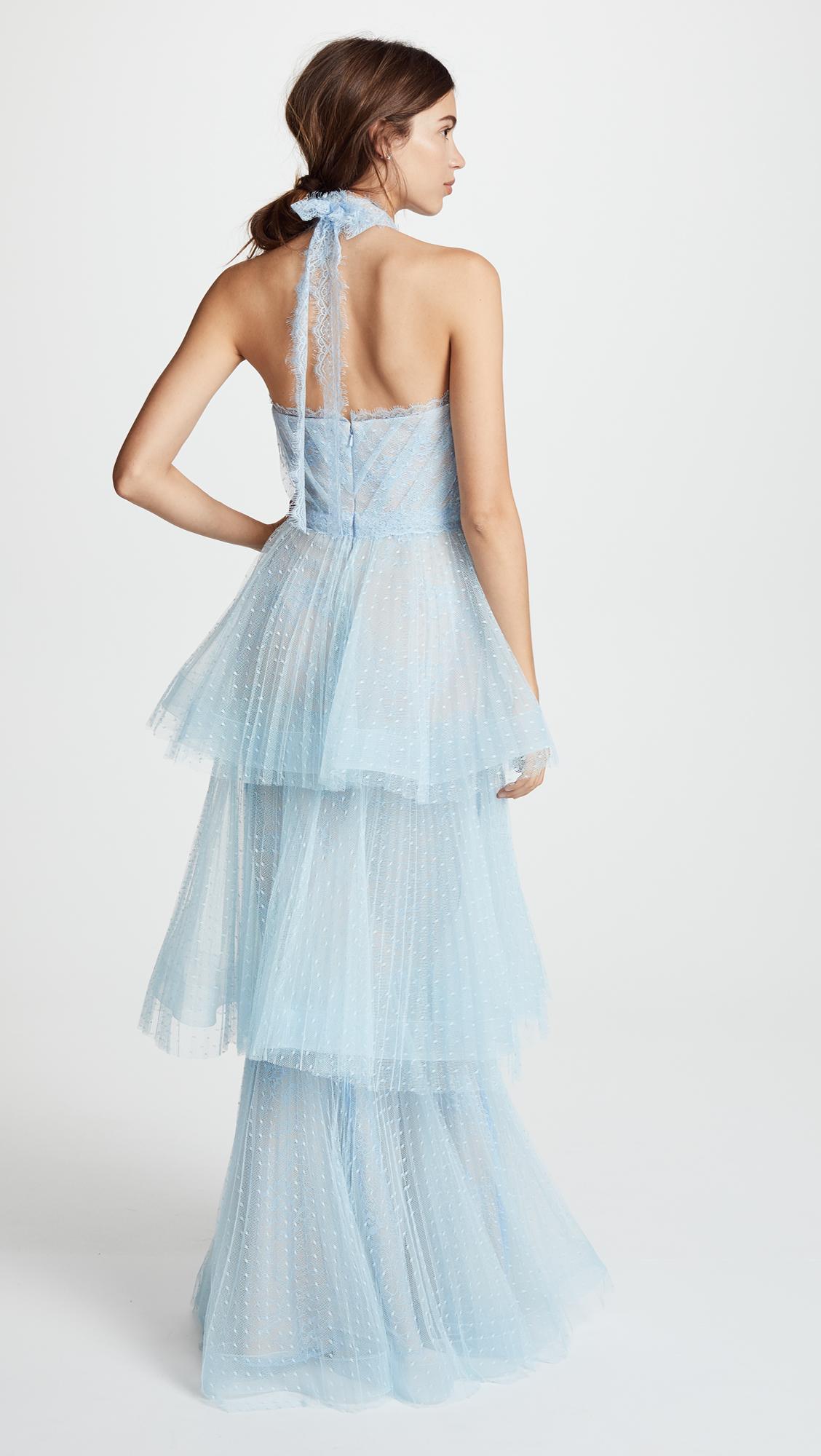 Marchesa Notte Tiered Halter Gown | SHOPBOP