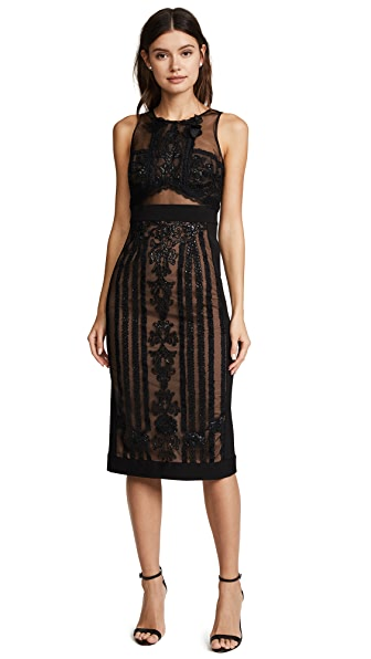 Marchesa Notte Sleeveless Embroidered Cocktail Dress In Black