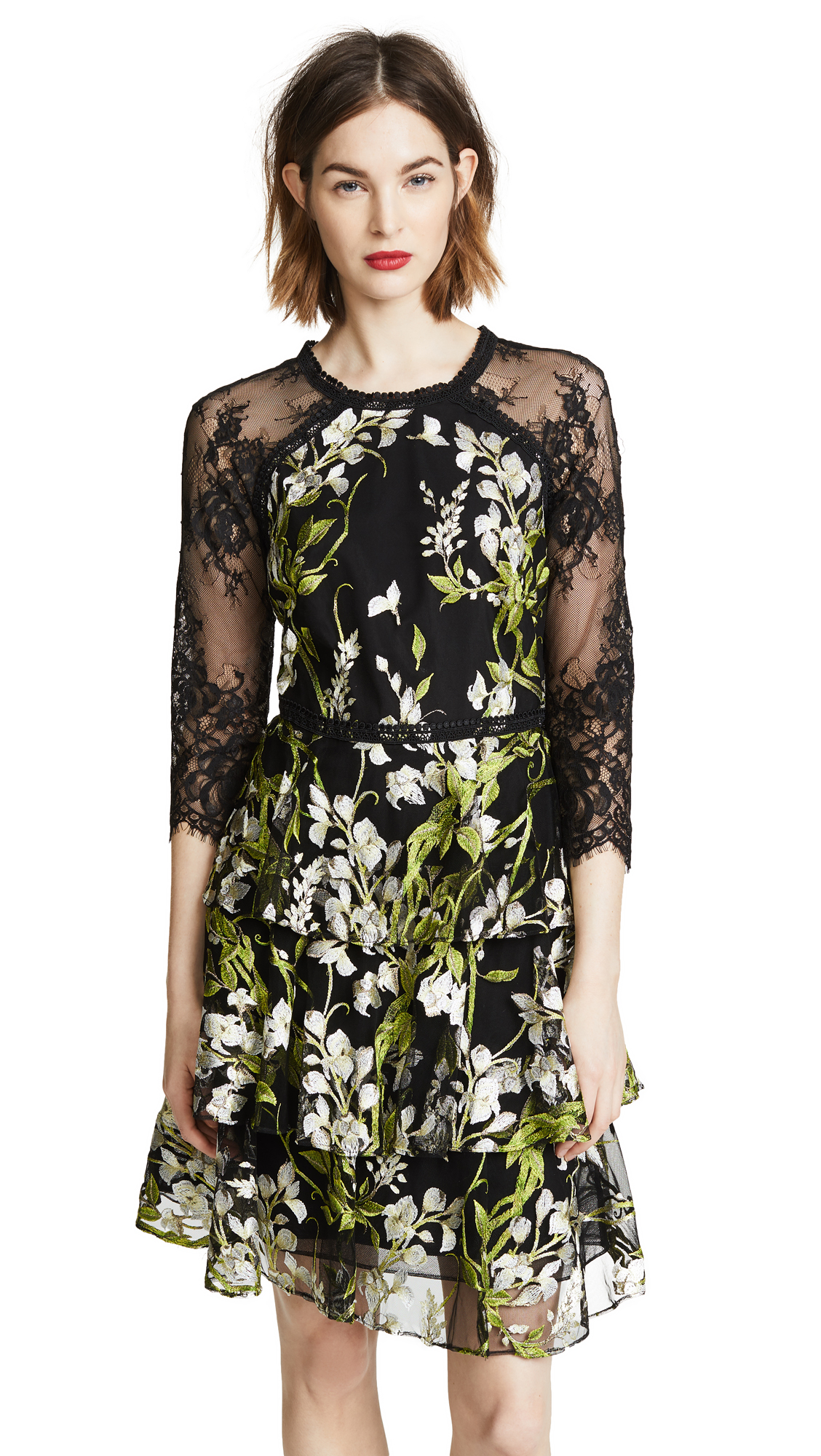 Marchesa Notte 3/4 Sleeve Embroidered Cocktail Dress