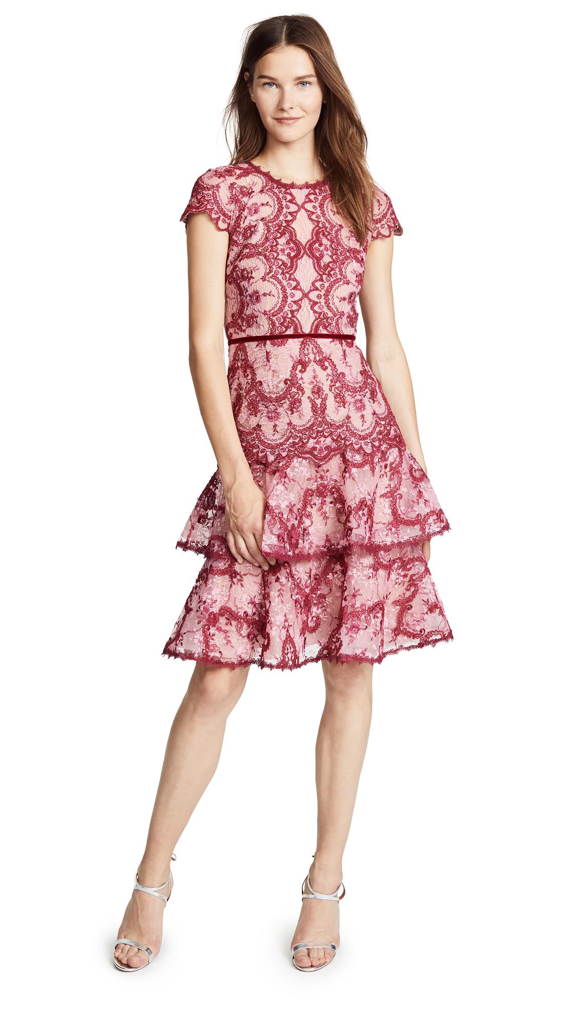 Marchesa Notte Cap Sleeve Cocktail Dress