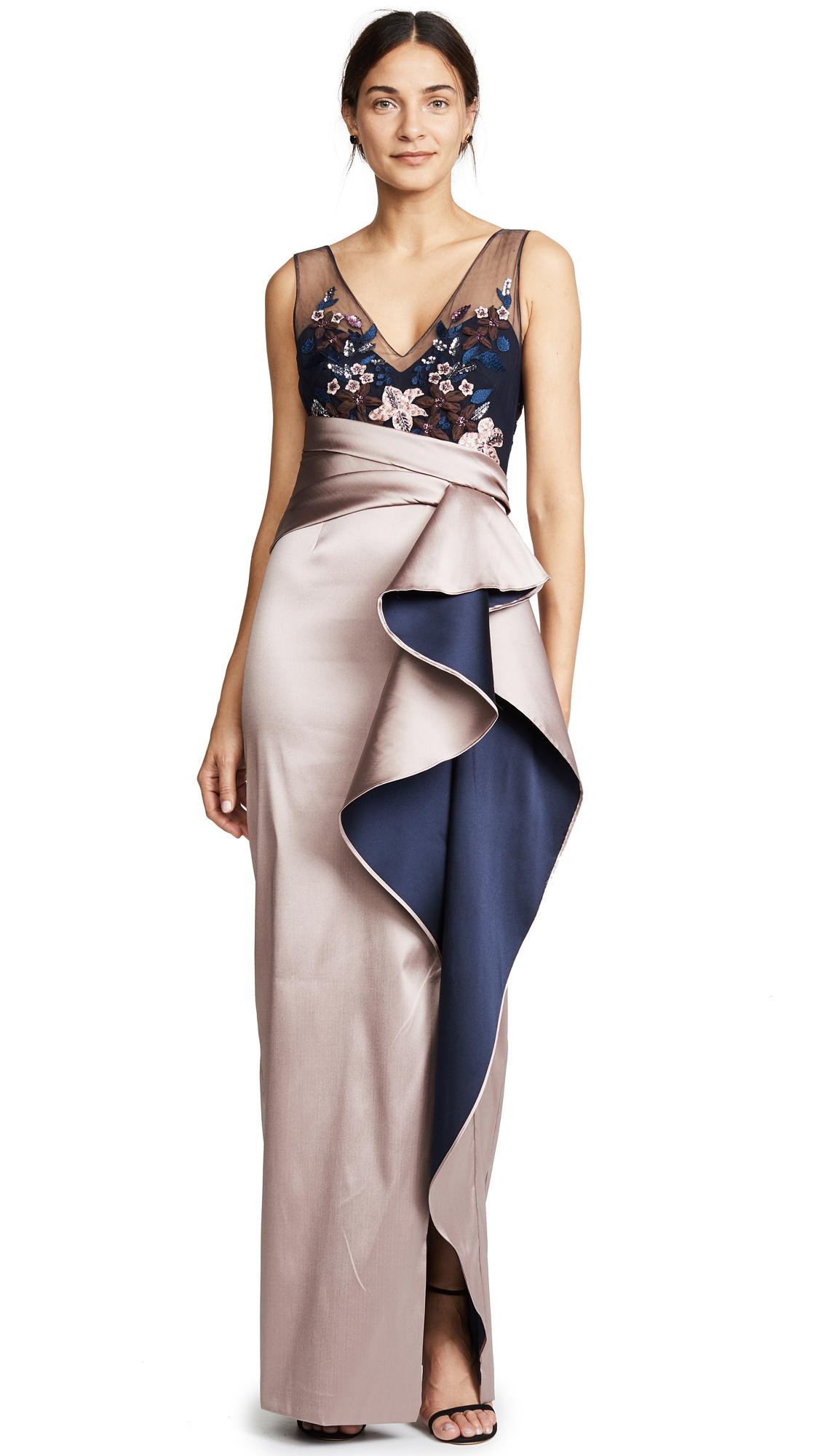 Marchesa Notte Column Gown In Blush