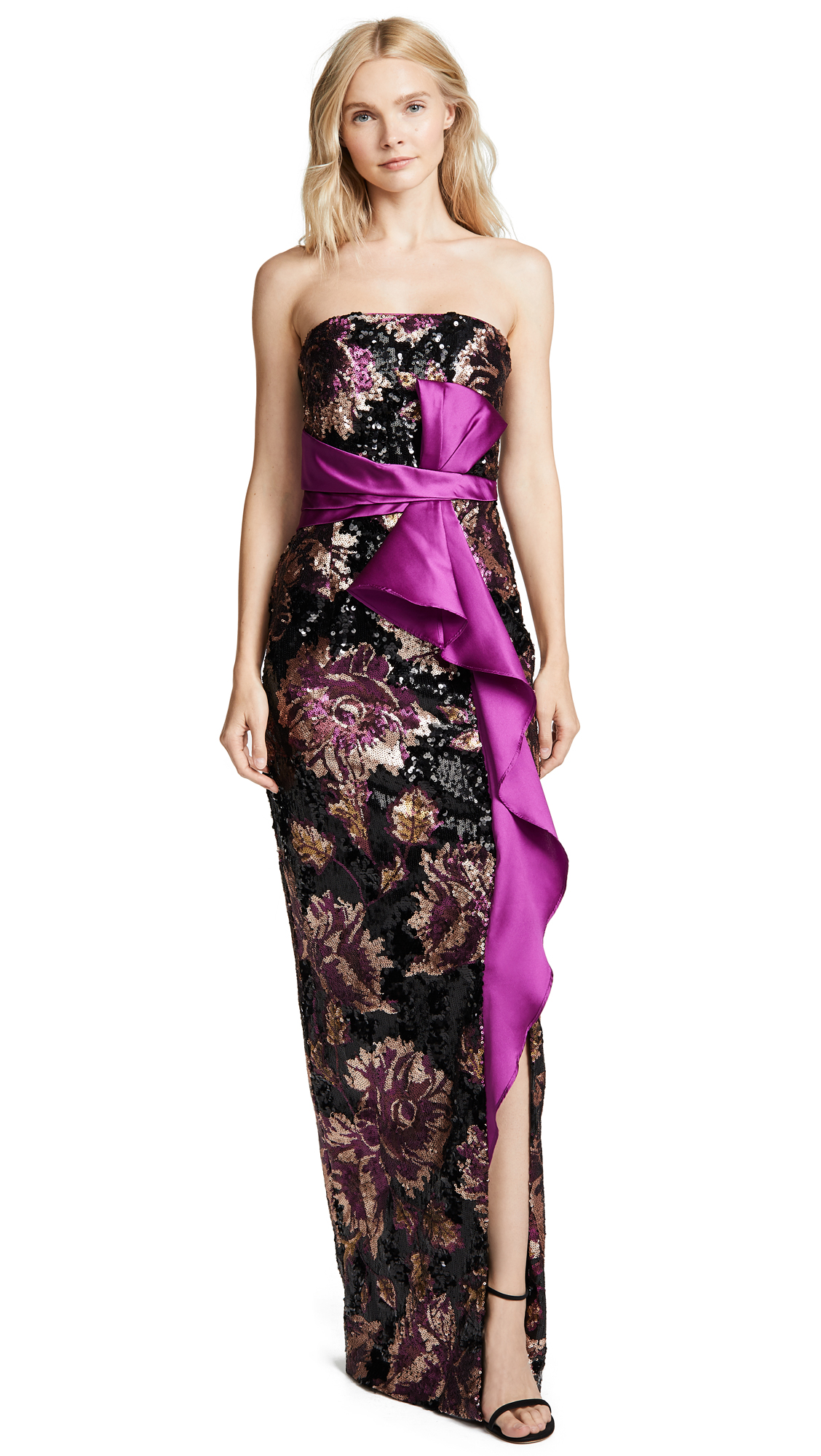 MARCHESA NOTTE STRAPLESS SEQUIN PEONY GOWN