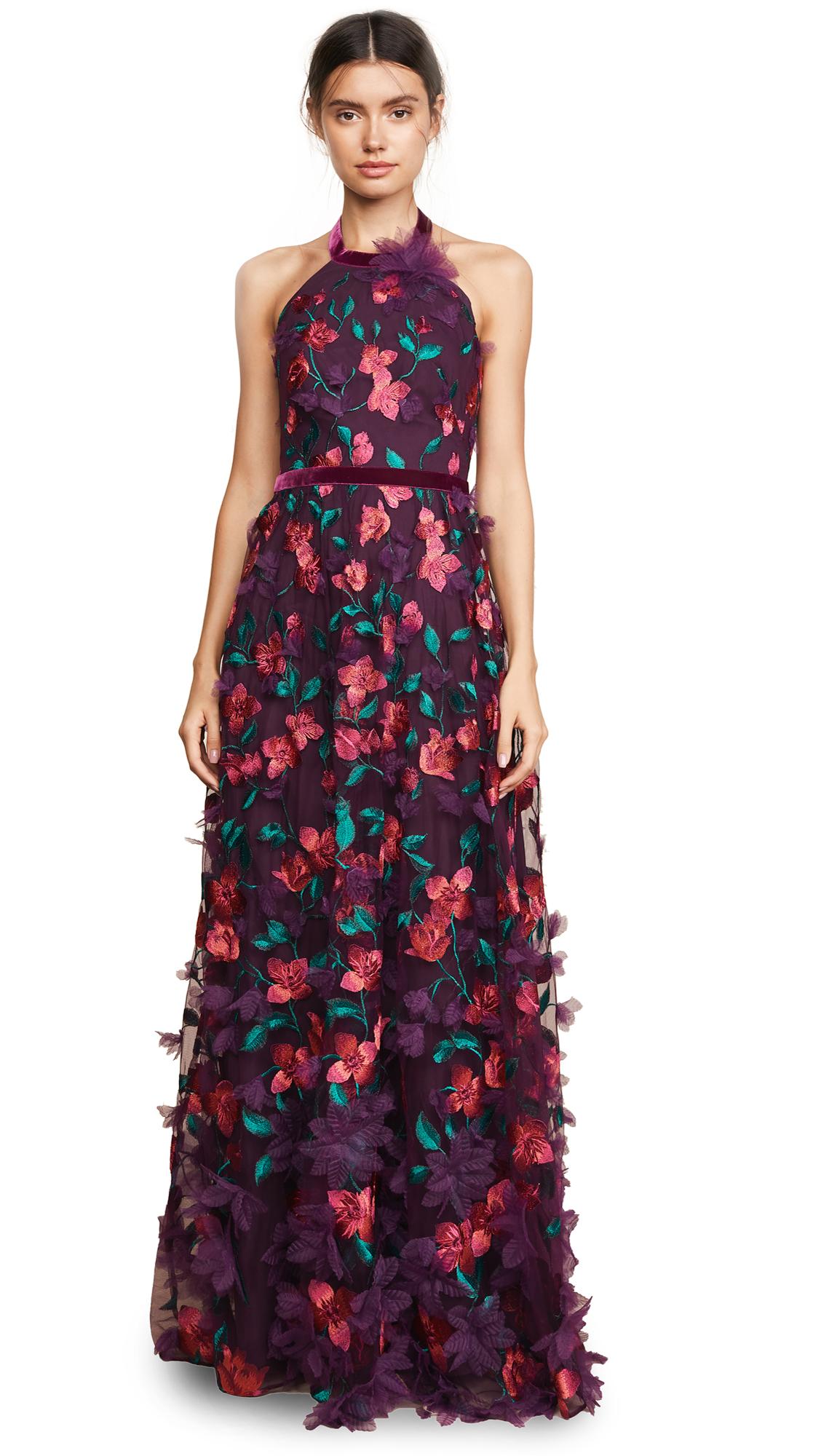 Marchesa Notte Floral Degrade Halter Gown