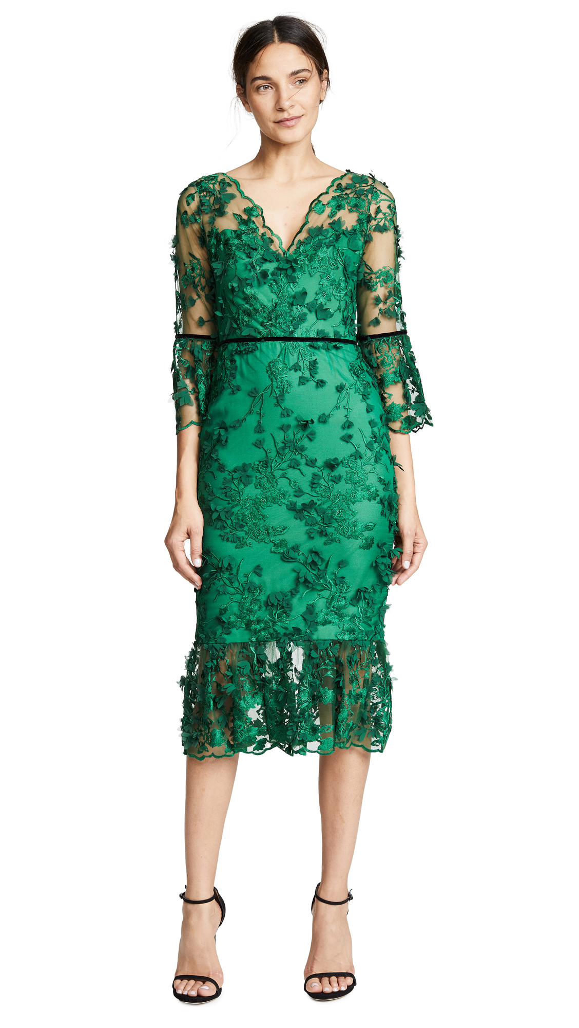 Marchesa Notte Embroidered Cocktail with 3D flowers