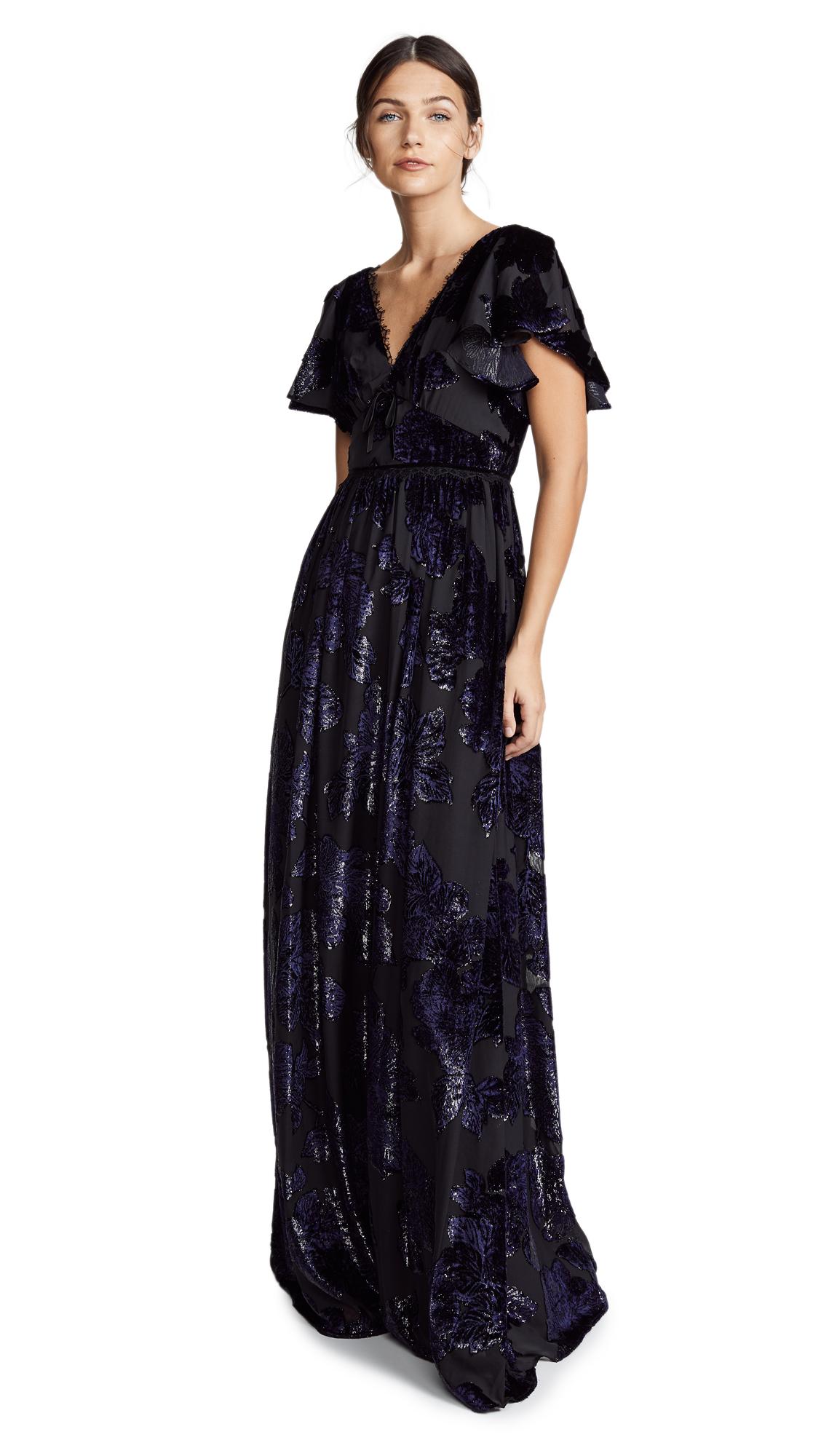 Marchesa Notte Flutter Sleeve V Neck Velvet Burnout Gown