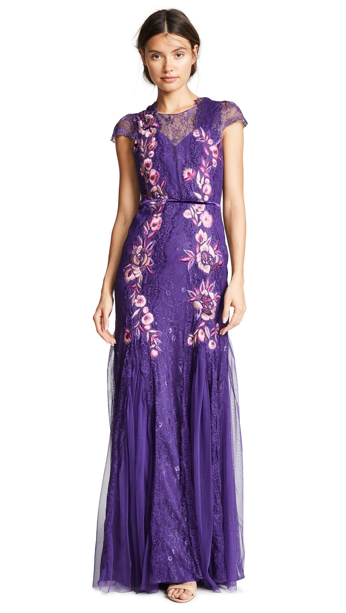Marchesa Notte Short Sleeve Patchwork Godet Gown