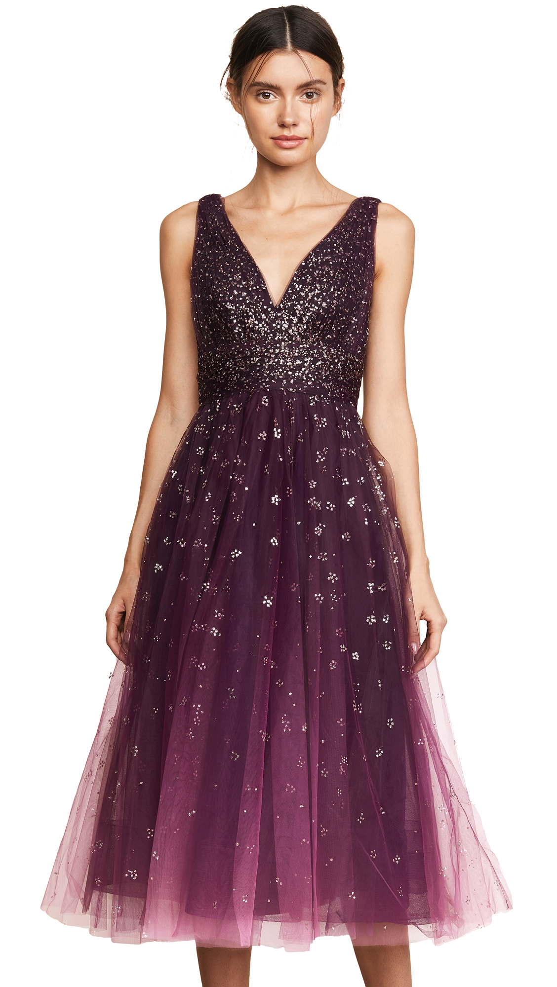 Marchesa Notte V Neck Ombre Pleated Tulle Dress