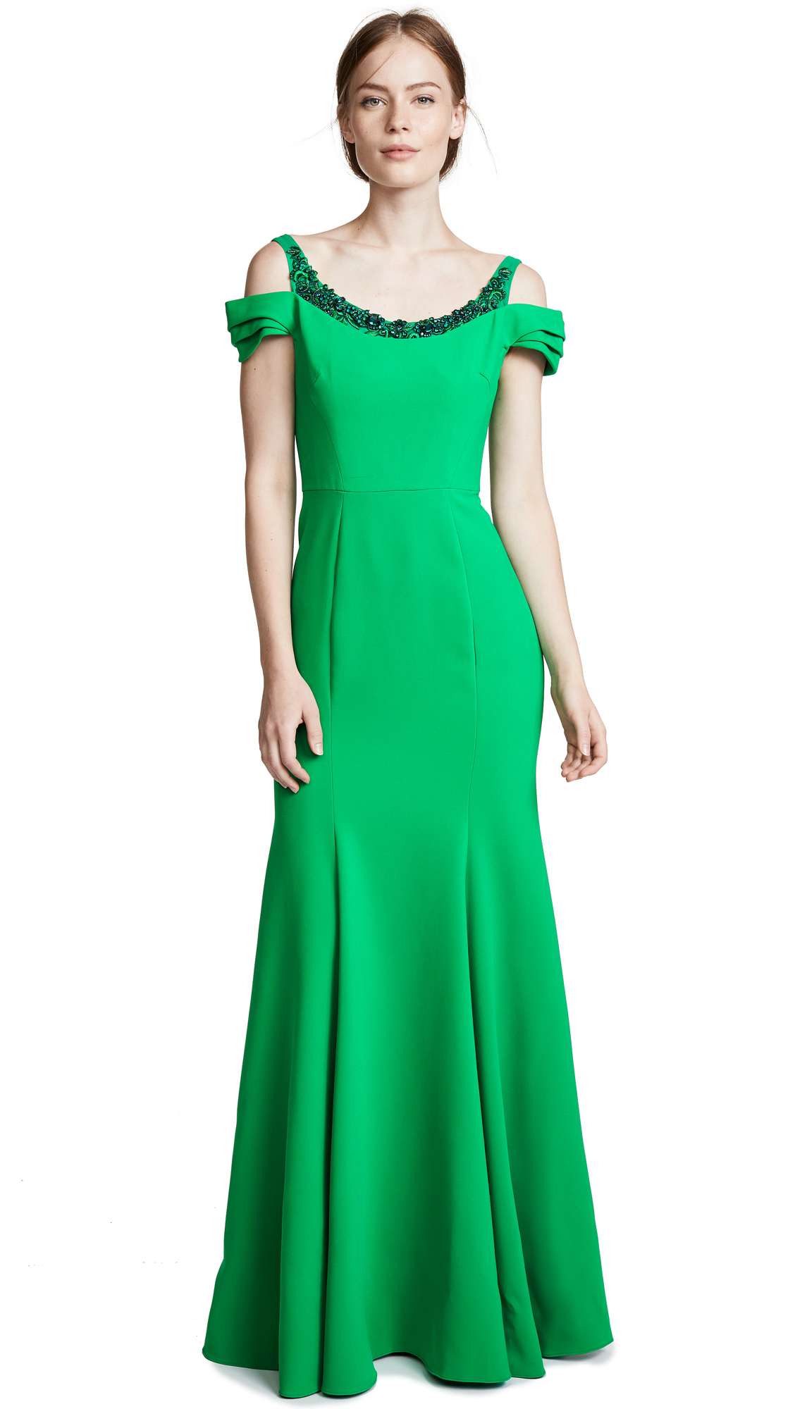 Marchesa Notte Cold Shoulder Gown with Beaded Embellishment