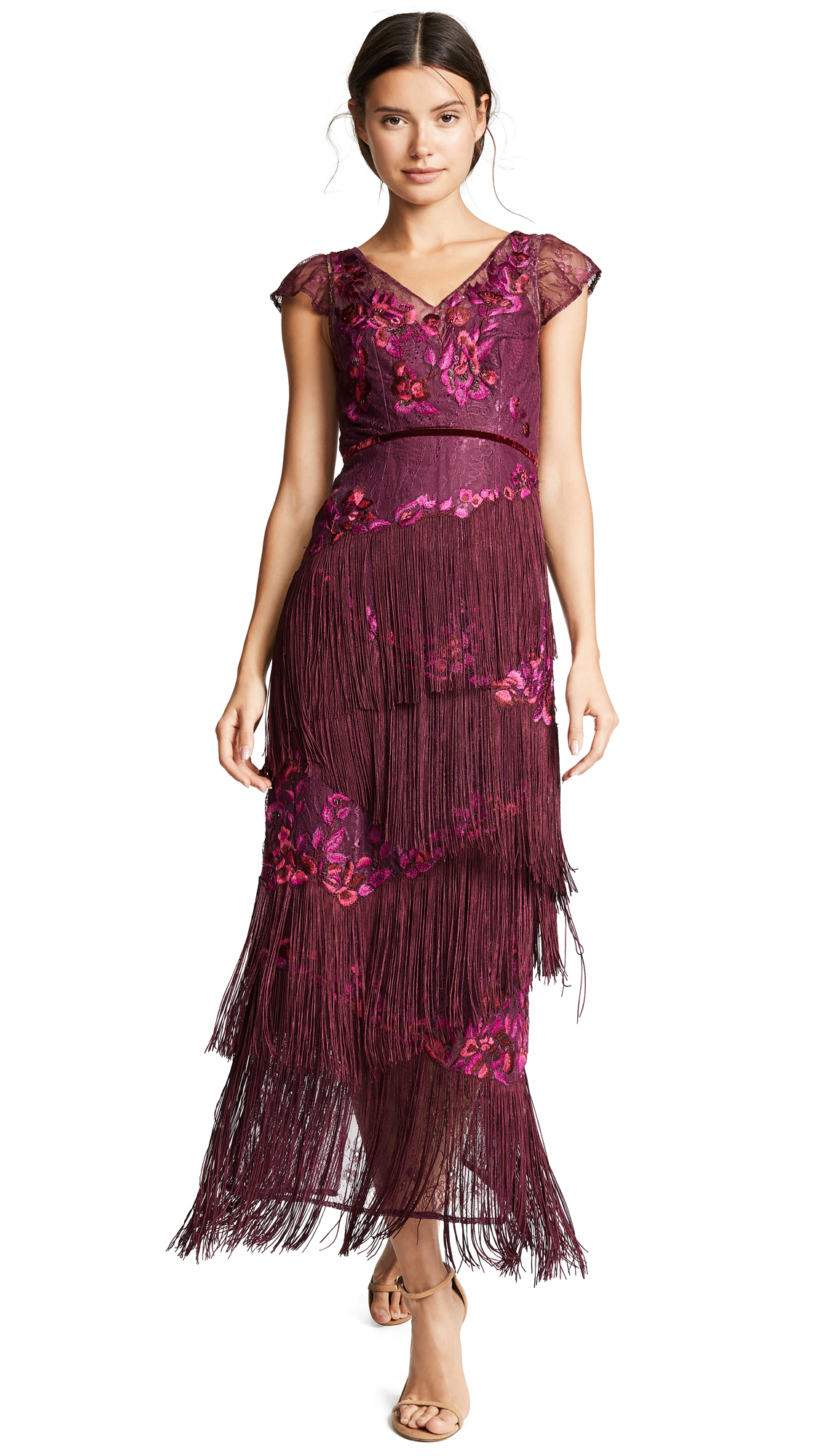 Marchesa Notte Cap Sleeve Velvet Fringe Gown with Floral Embroidery