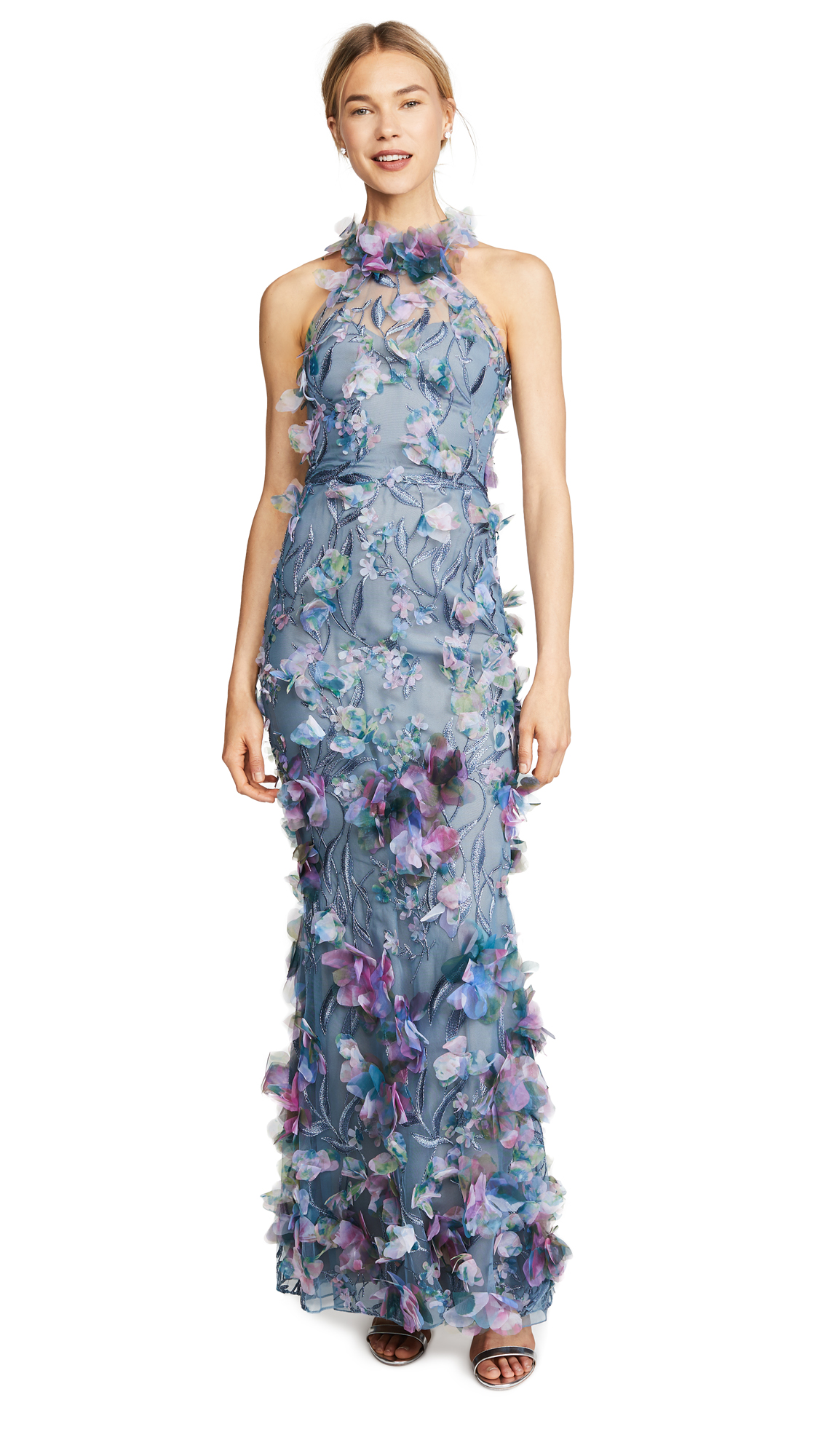 Marchesa Notte Printed 3D Floral Halter Gown