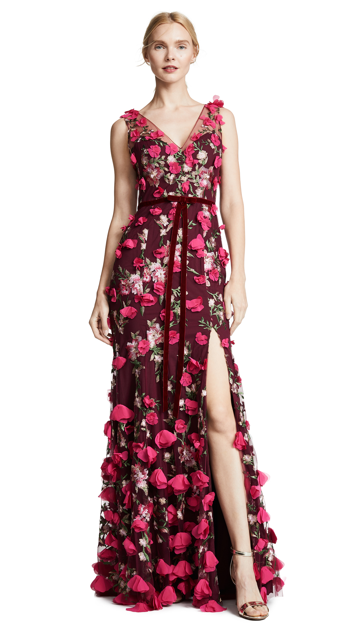 509631790859 Marchesa Notte V Neck Embroidered Gown