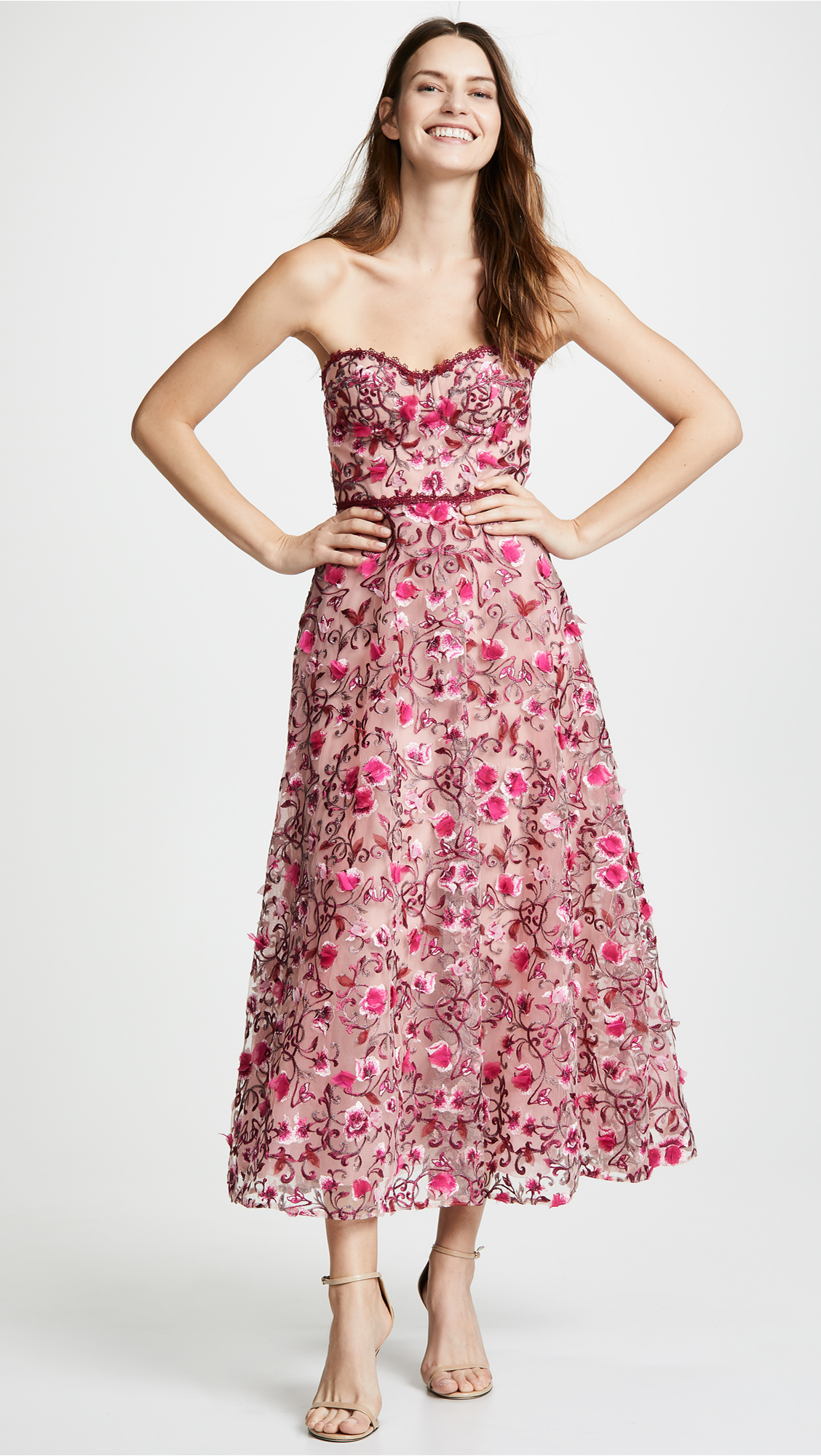20dca2eb Marchesa Notte Floral Embroidered Tea Length Gown | SHOPBOP