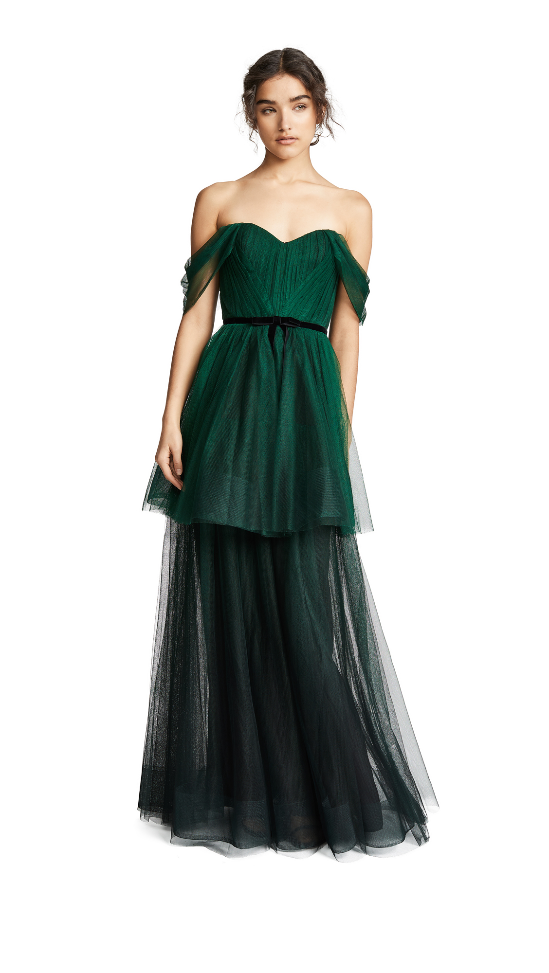 Marchesa Notte Ombre Tulle Tiered Gown