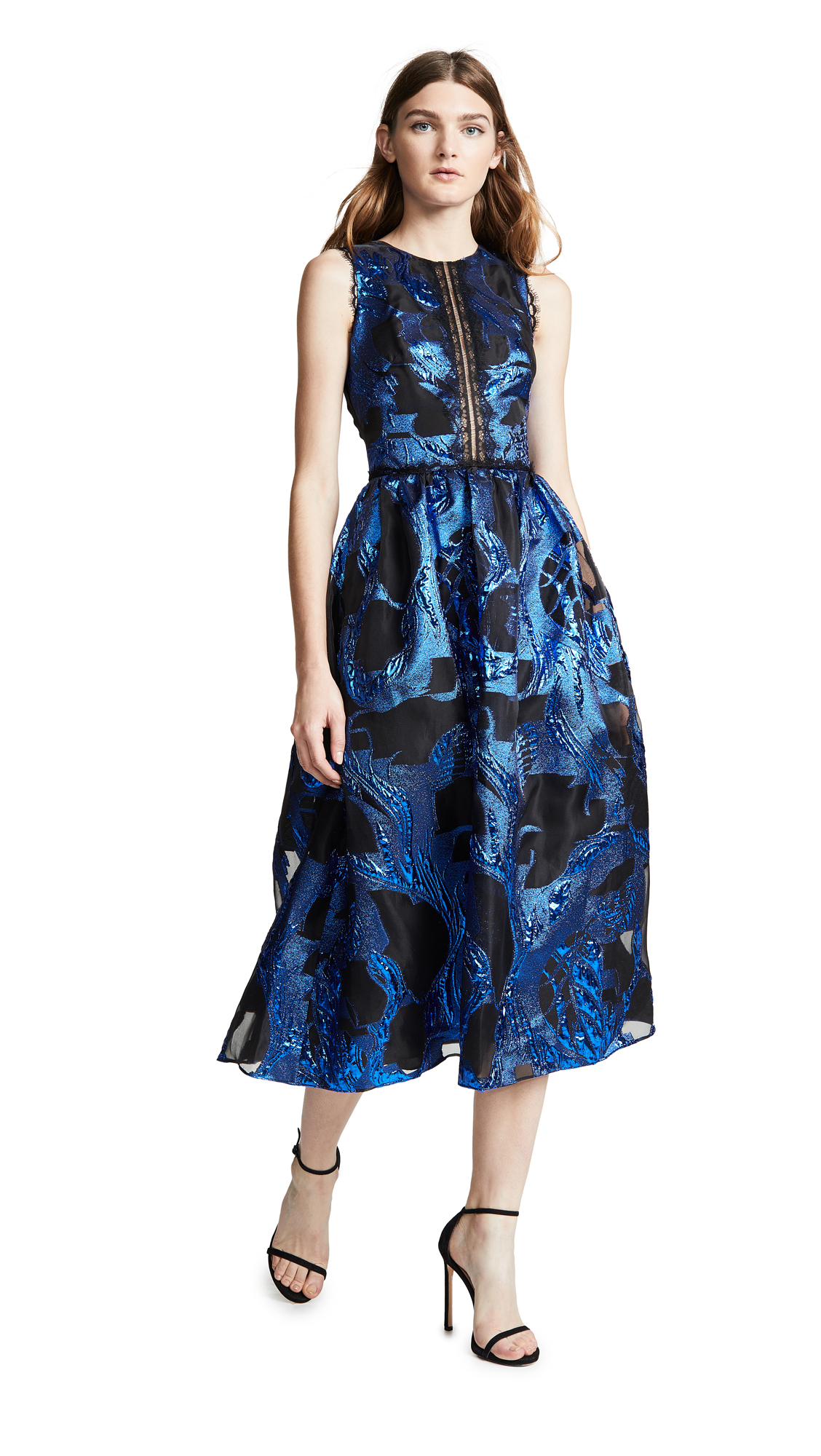 Marchesa Notte Sleeveless Metallic Fils Coupe Cocktail Dress In Royal