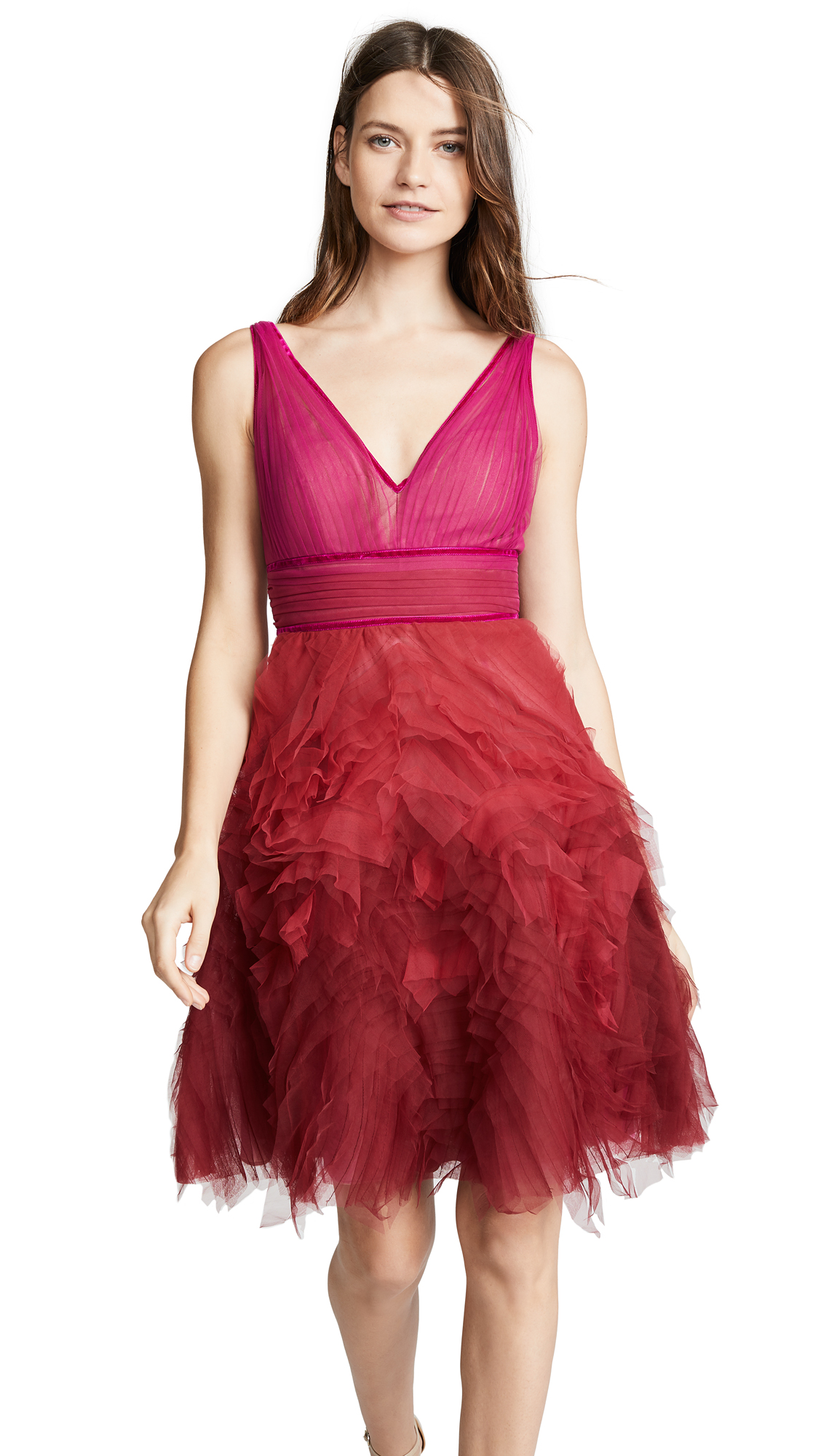 Marchesa Notte Ombre Cocktail Dress
