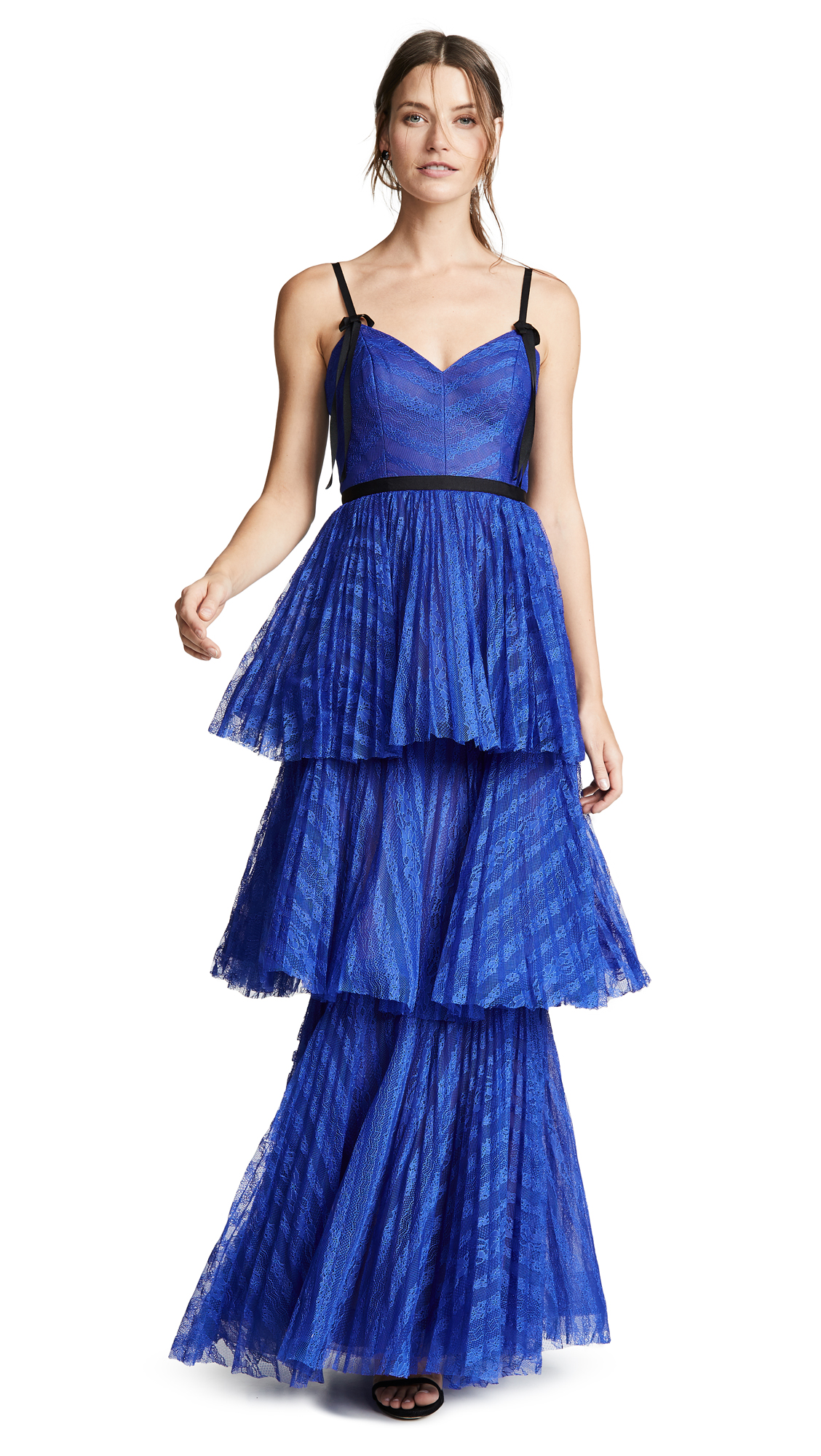 MARCHESA NOTTE Sleeveless Striped Lace Tiered Gown in Royal