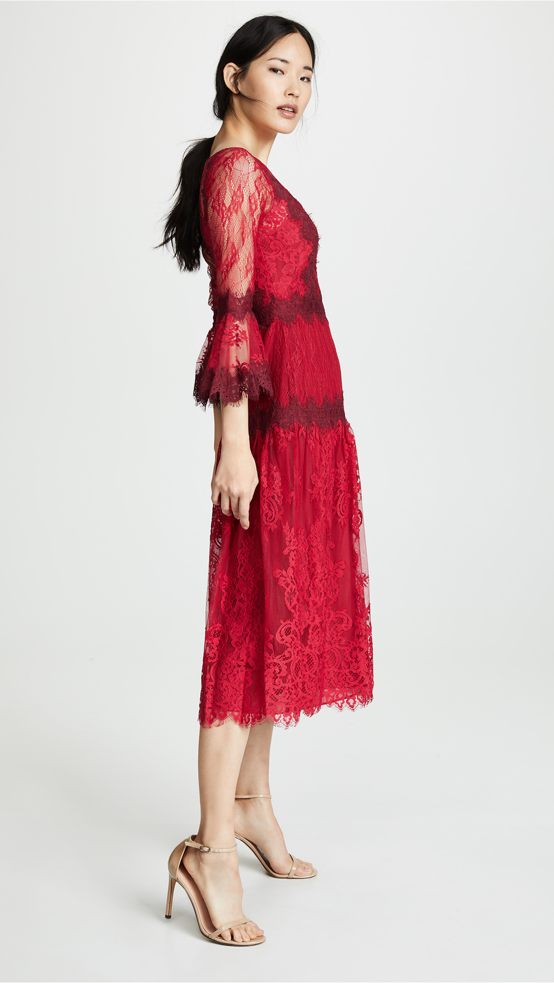 fa1a8f71c32 Marchesa Notte Mixed Lace Tea Length Cocktail Dress