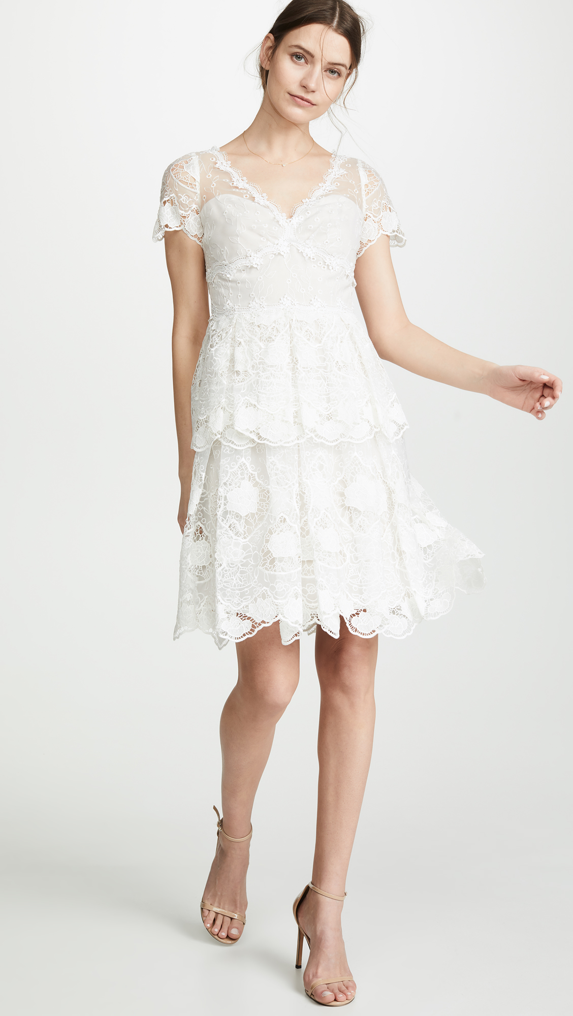 c6c19549 Marchesa Notte Floral Eyelet Tiered Cocktail Dress | SHOPBOP