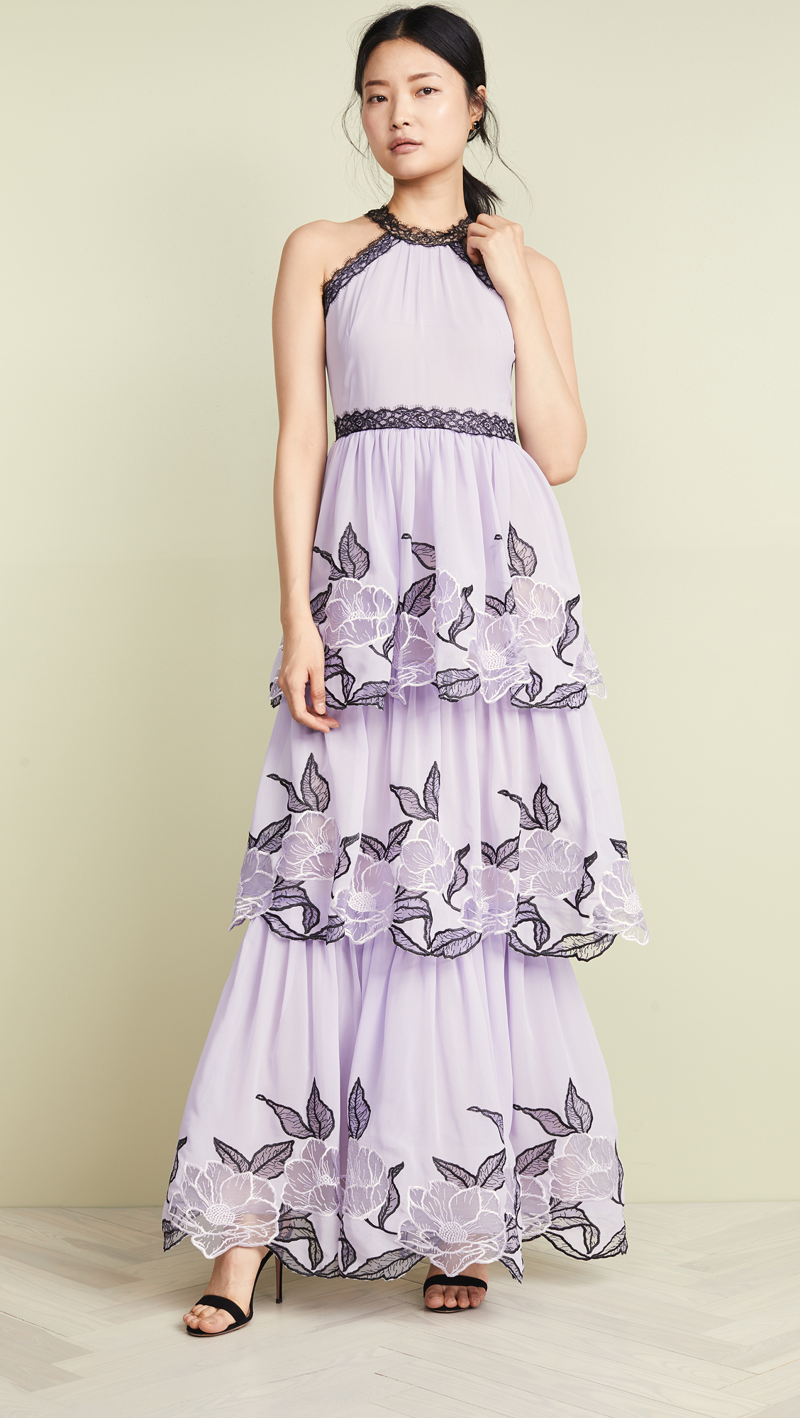 Marchesa Notte Tulle Tiered Gown With Lace Trim Shopbop