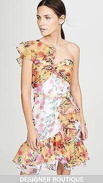 f760b536066a Marchesa Notte. One Shoulder Colorblock Cocktail Dress