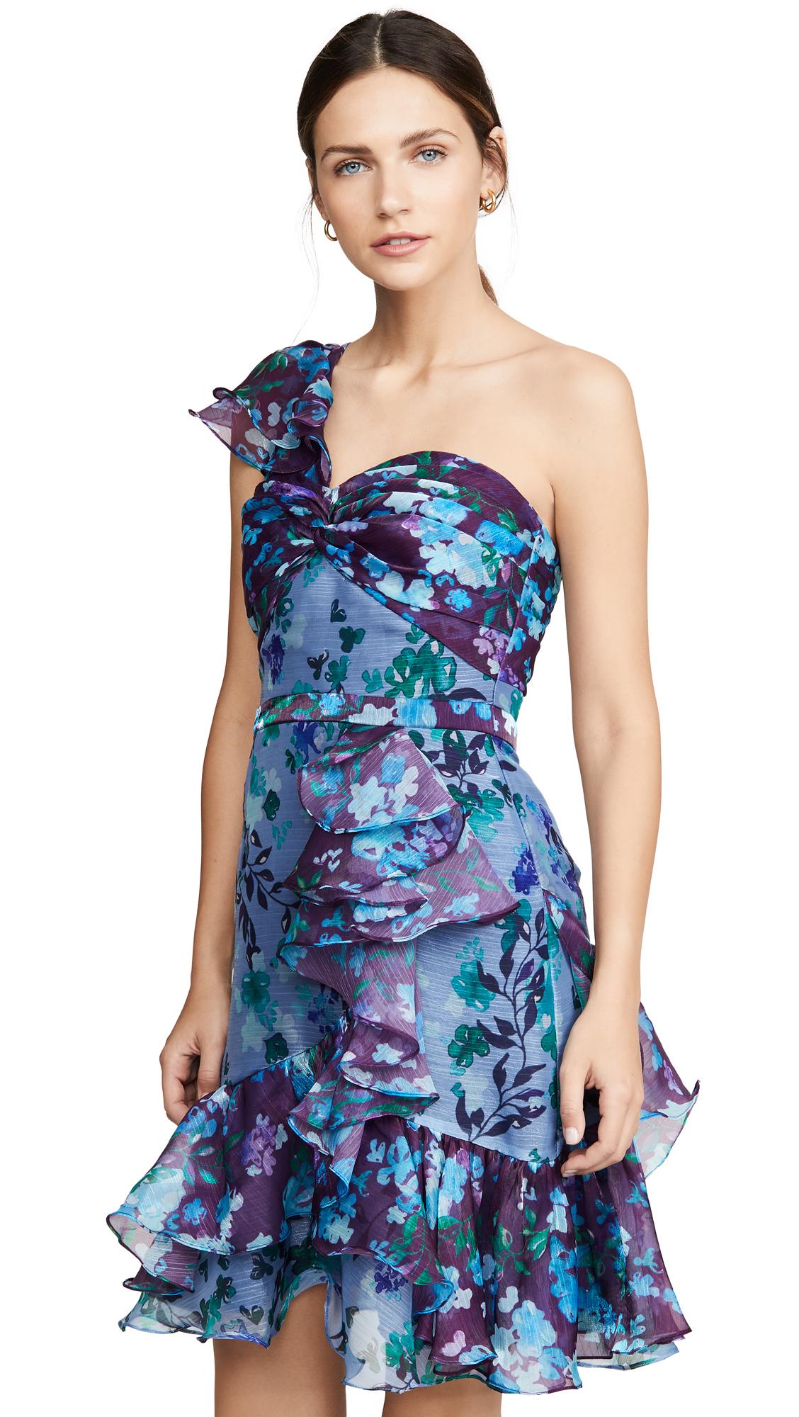 Buy Marchesa Notte online - photo of Marchesa Notte One Shoulder Colorblock Cocktail Dress