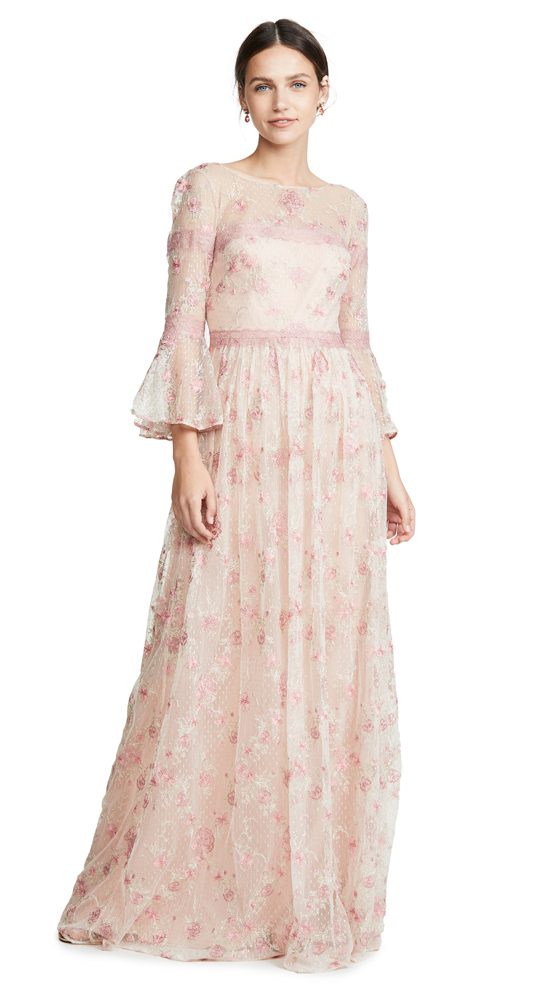 Buy Marchesa Notte online - photo of Marchesa Notte Flounce Sleeve Embroidered A-Line gown