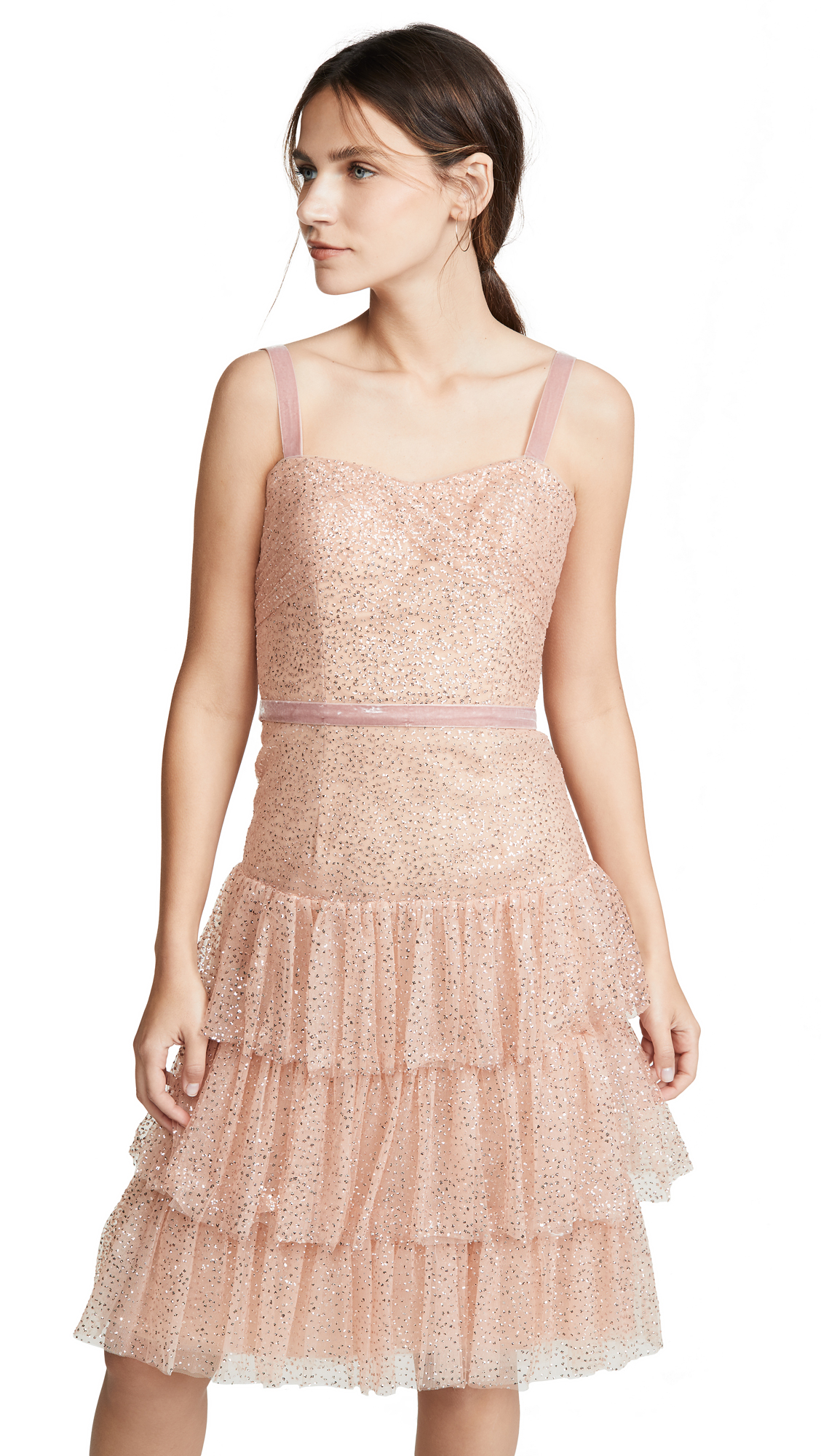 Buy Marchesa Notte online - photo of Marchesa Notte Glitter Tulle Cocktail Dress