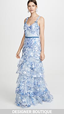 09aa9881 Marchesa Notte. Printed Tiered Gown