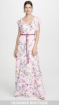 6134f0a7 Marchesa Notte. Printed Burnout Chiffon Gown