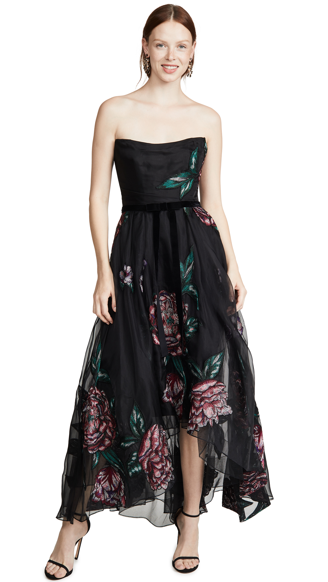 Buy Marchesa Notte Strapless Embroidered Organza Tea Length Gown online beautiful Marchesa Notte Dresses, Strapless