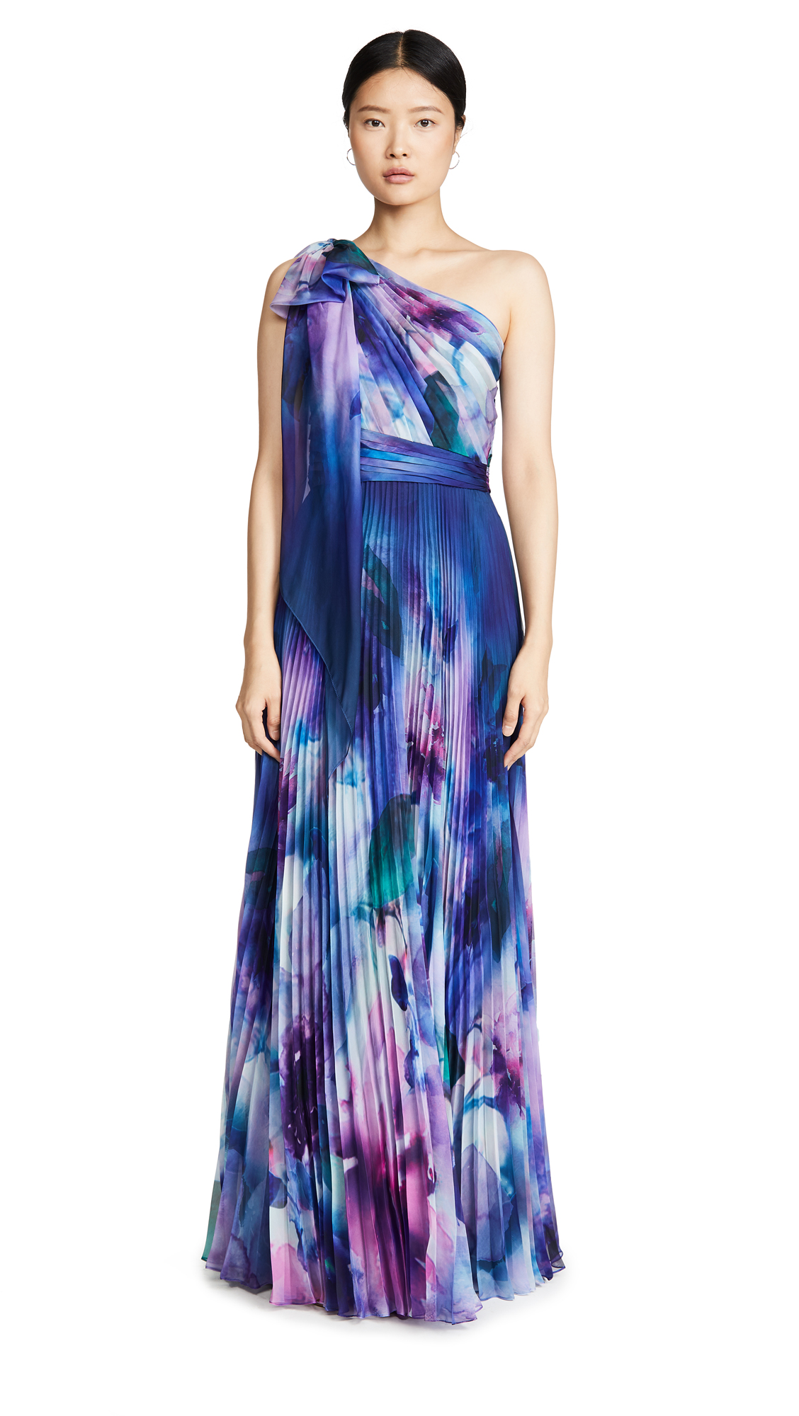 Buy Marchesa Notte online - photo of Marchesa Notte One Shoulder Chiffon Pleated Gown