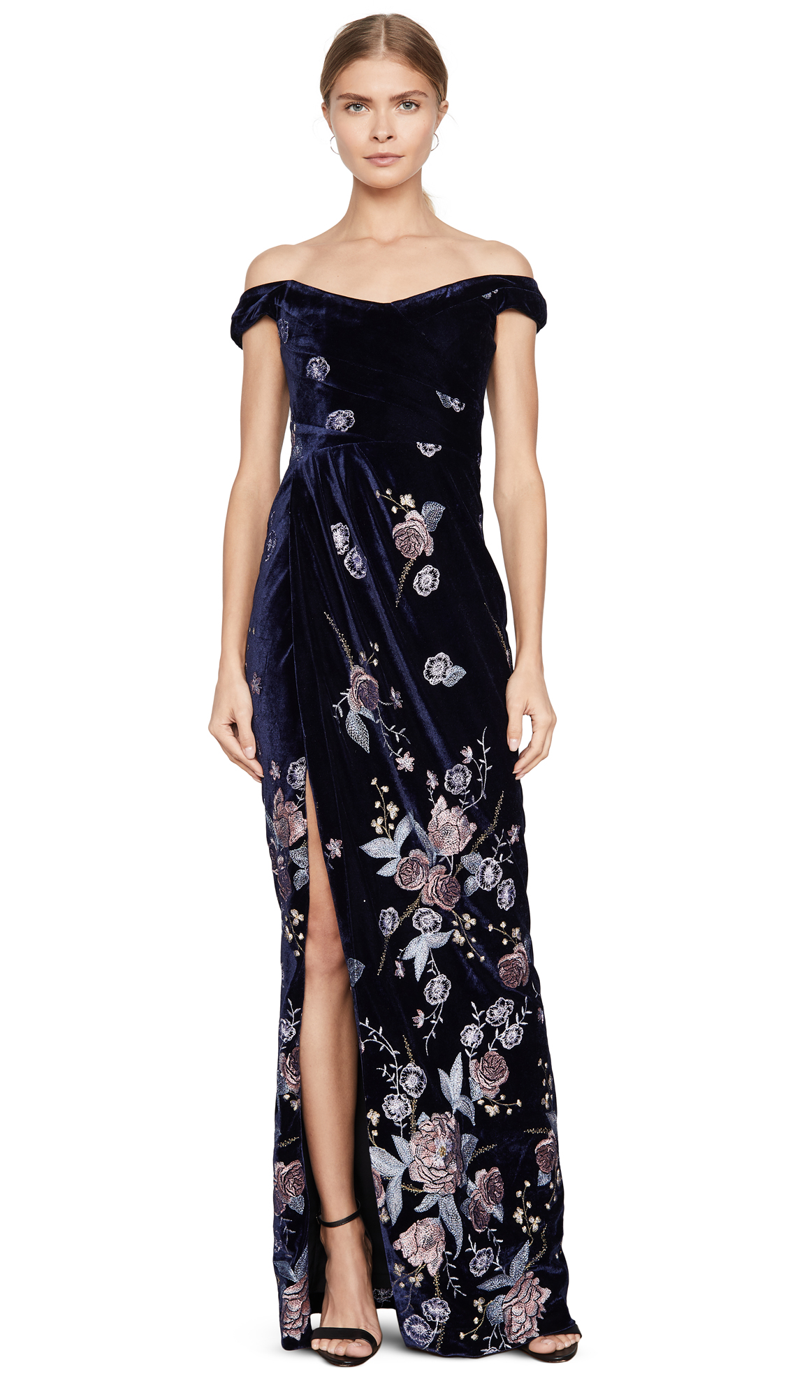 Buy Marchesa Notte online - photo of Marchesa Notte Off the Shoulder Velvet Embroidered Gown
