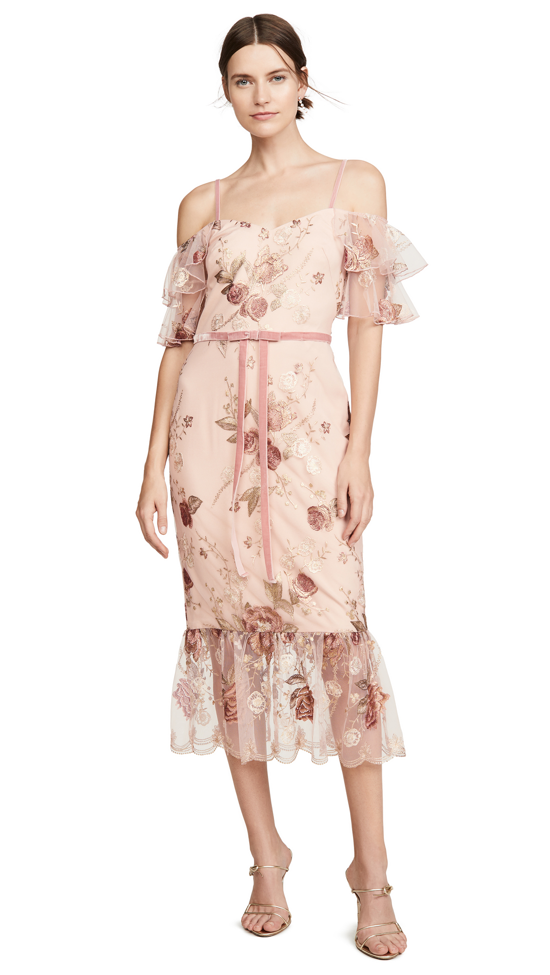 Buy Marchesa Notte online - photo of Marchesa Notte Off the Shoulder Tiered Sleeve Embroidered Tea-Length Gown