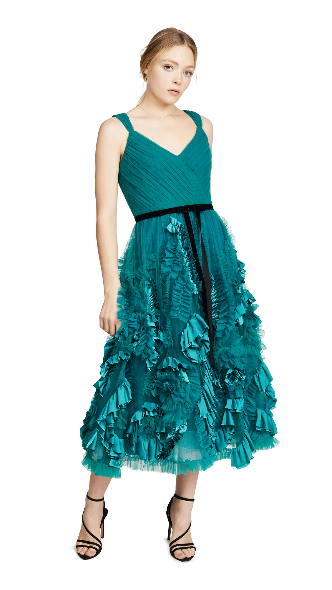 Buy Marchesa Notte online - photo of Marchesa Notte Sleeveless Mixed Media Textured Tea-Length Gown