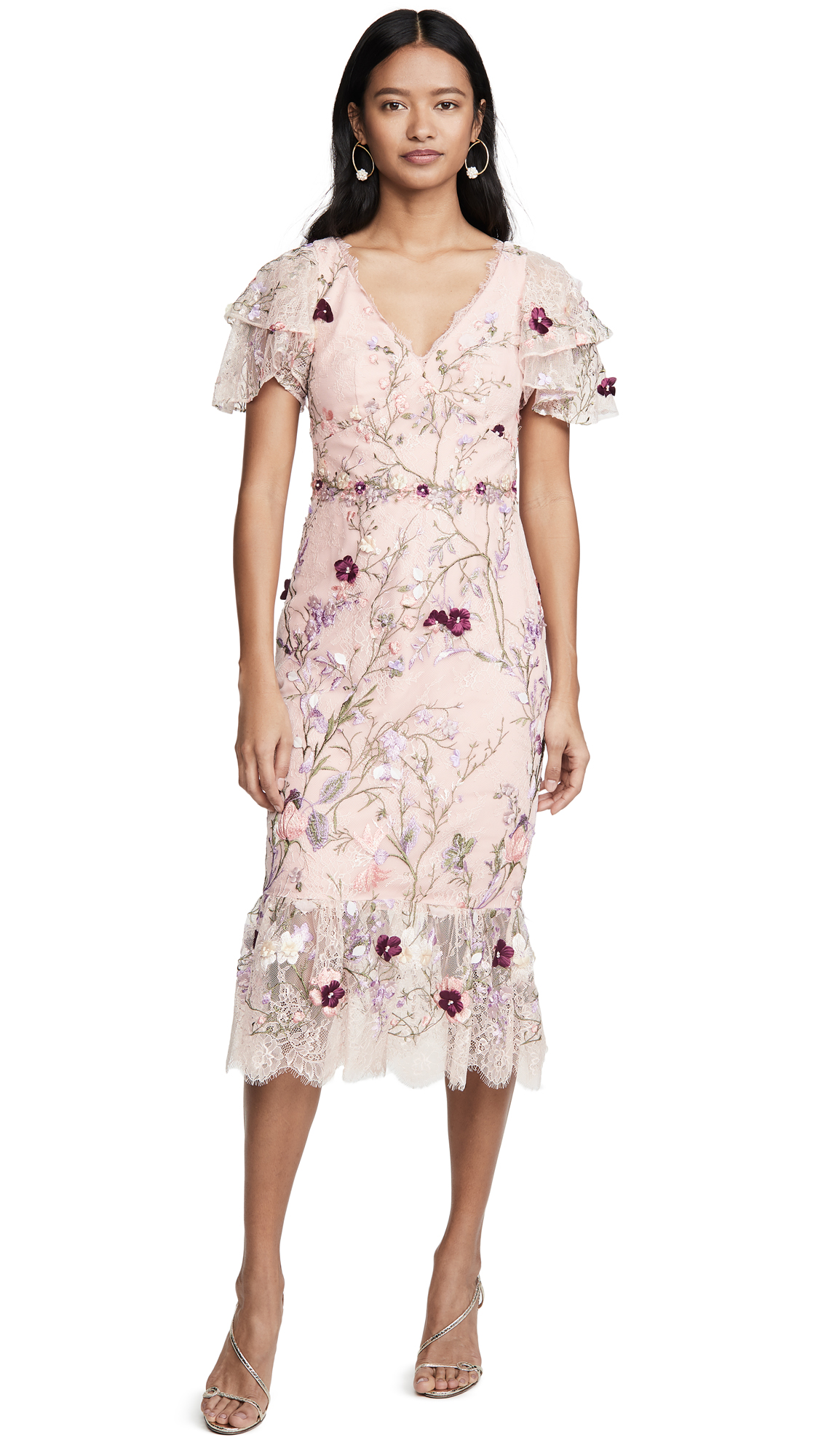 Buy Marchesa Notte online - photo of Marchesa Notte Embroidered Lace Cocktail Dress