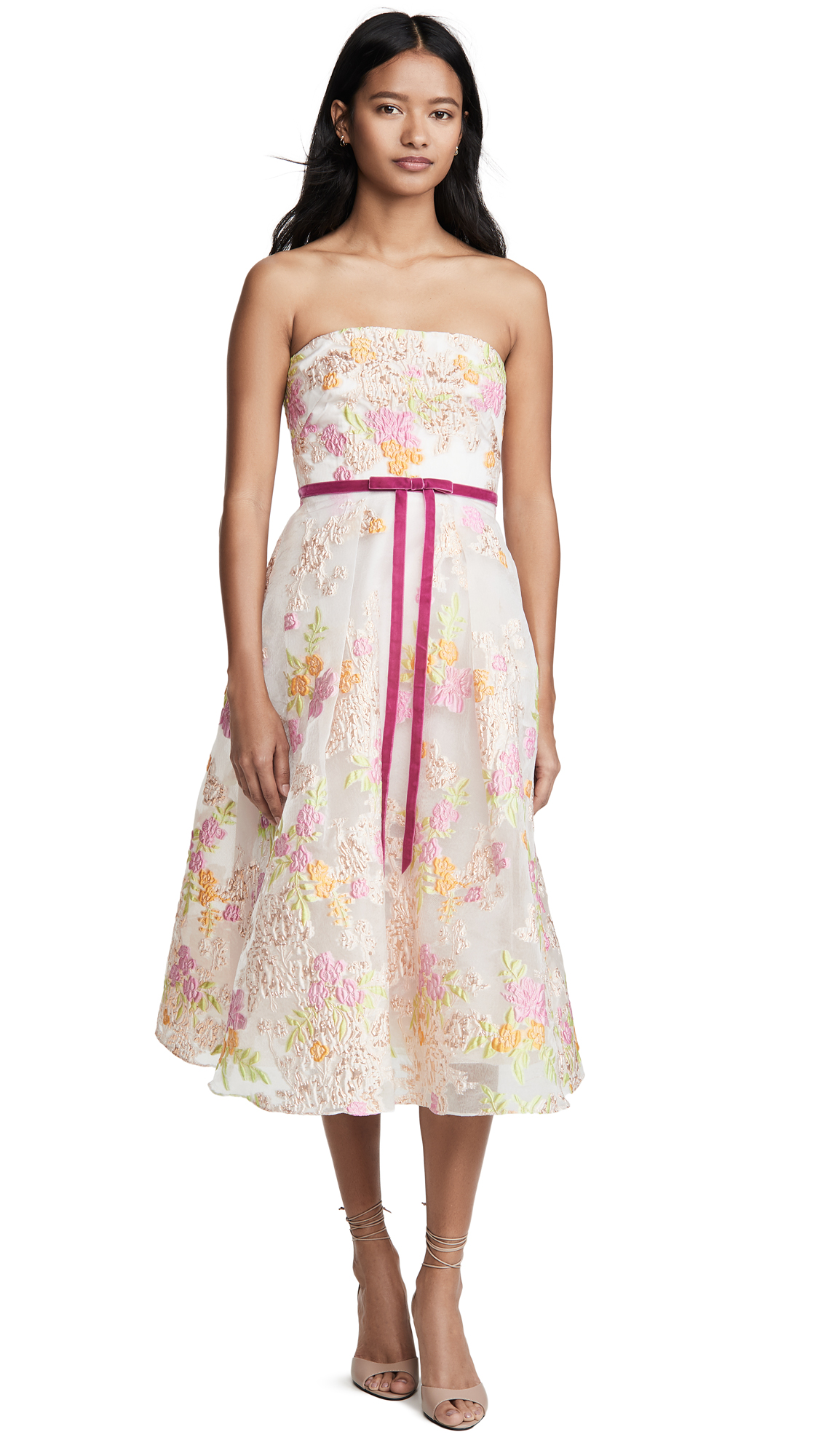 Buy Marchesa Notte online - photo of Marchesa Notte Strapless Tea Length Cocktail Dress