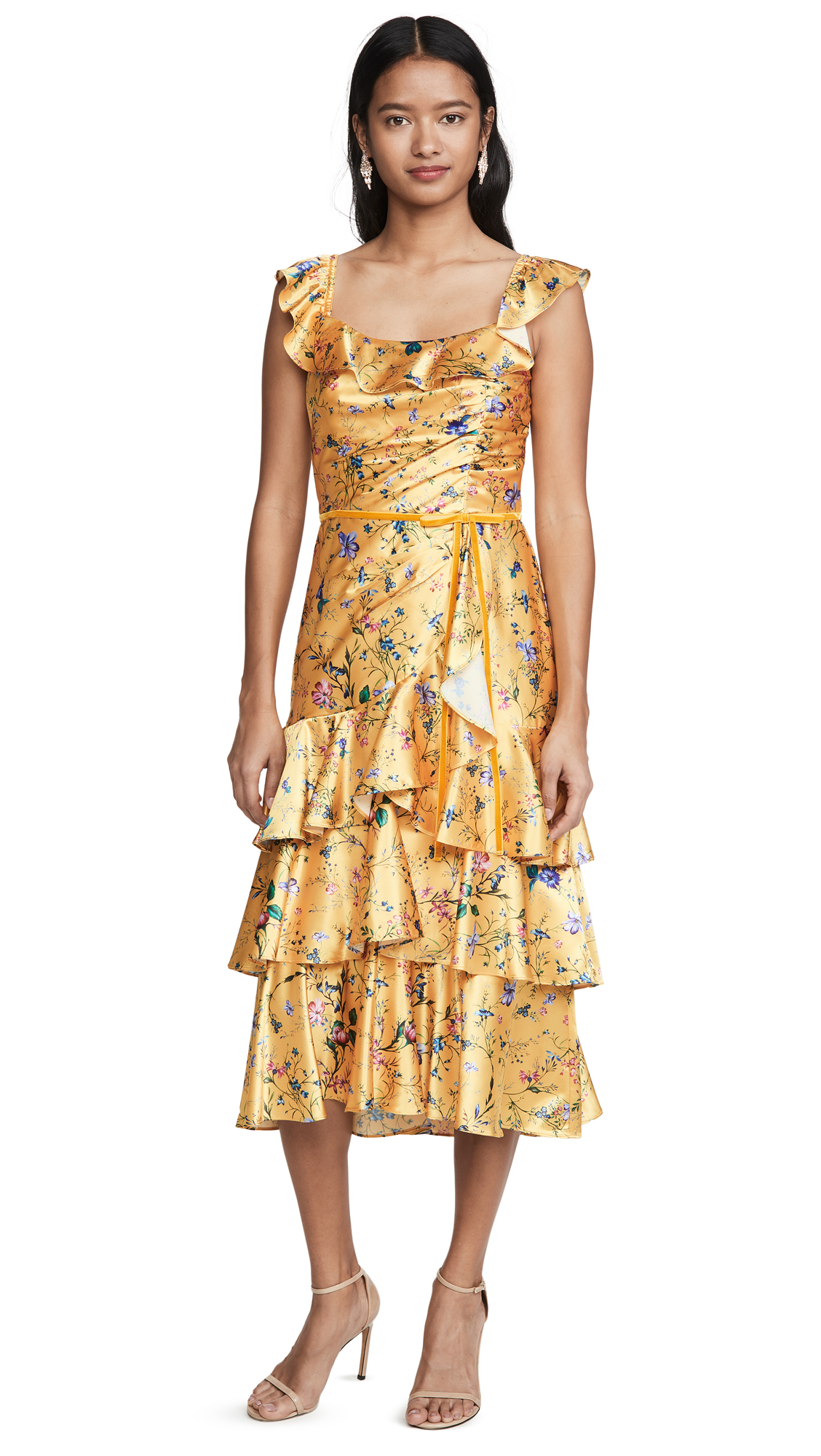 Buy Marchesa Notte Sleeveless Printed Charmeuse Tiered Cocktail Dress online beautiful Marchesa Notte Dresses, Strapless