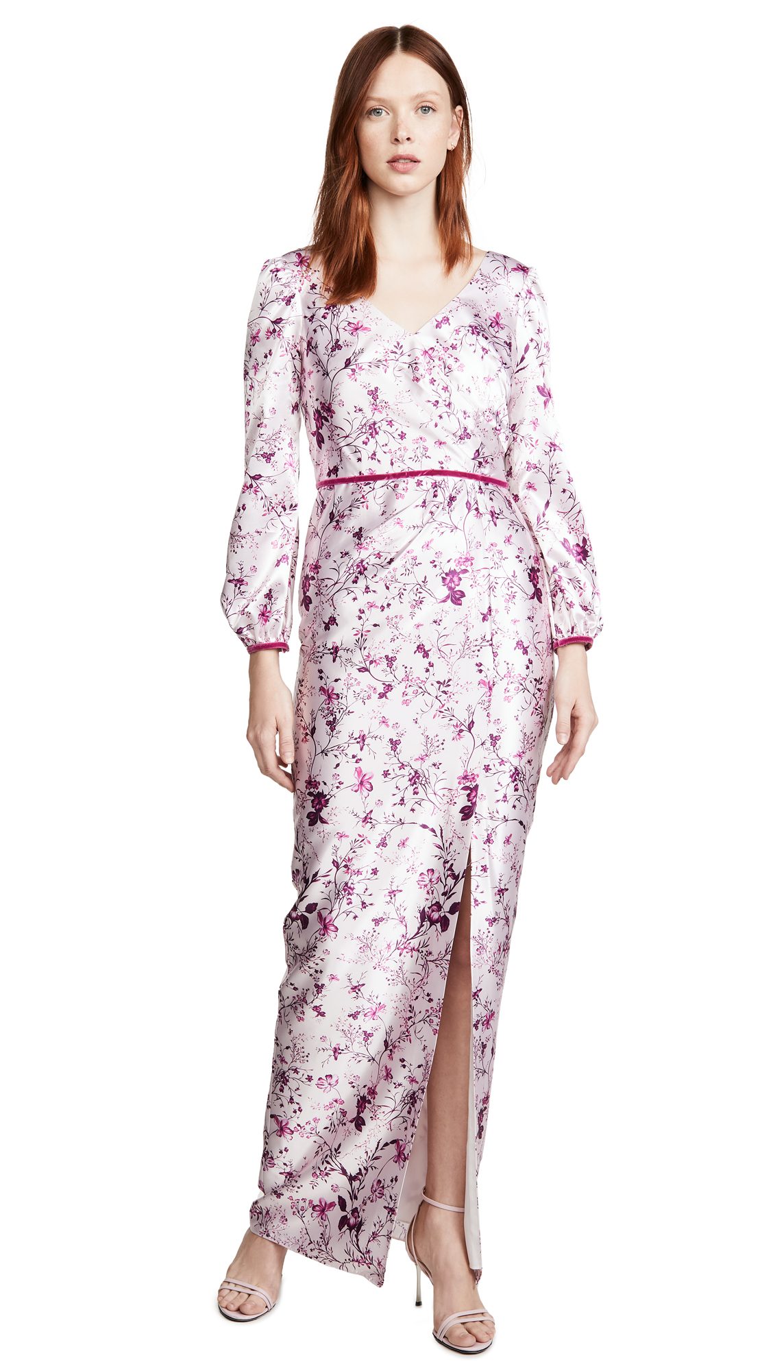 Buy Marchesa Notte Bishop Sleeve Printed Charmeuse Gown online beautiful Marchesa Notte Dresses, Strapless