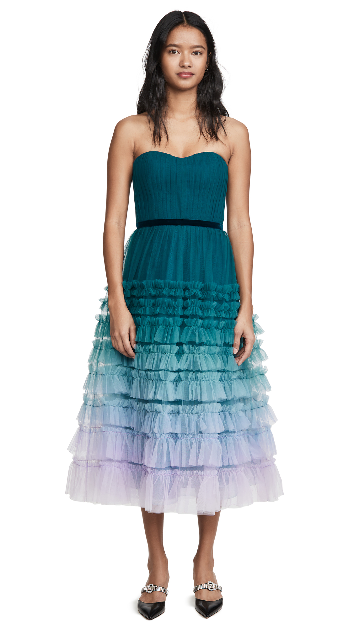 Buy Marchesa Notte Strapless Ombre Tea Length Gown online beautiful Marchesa Notte Dresses, Strapless