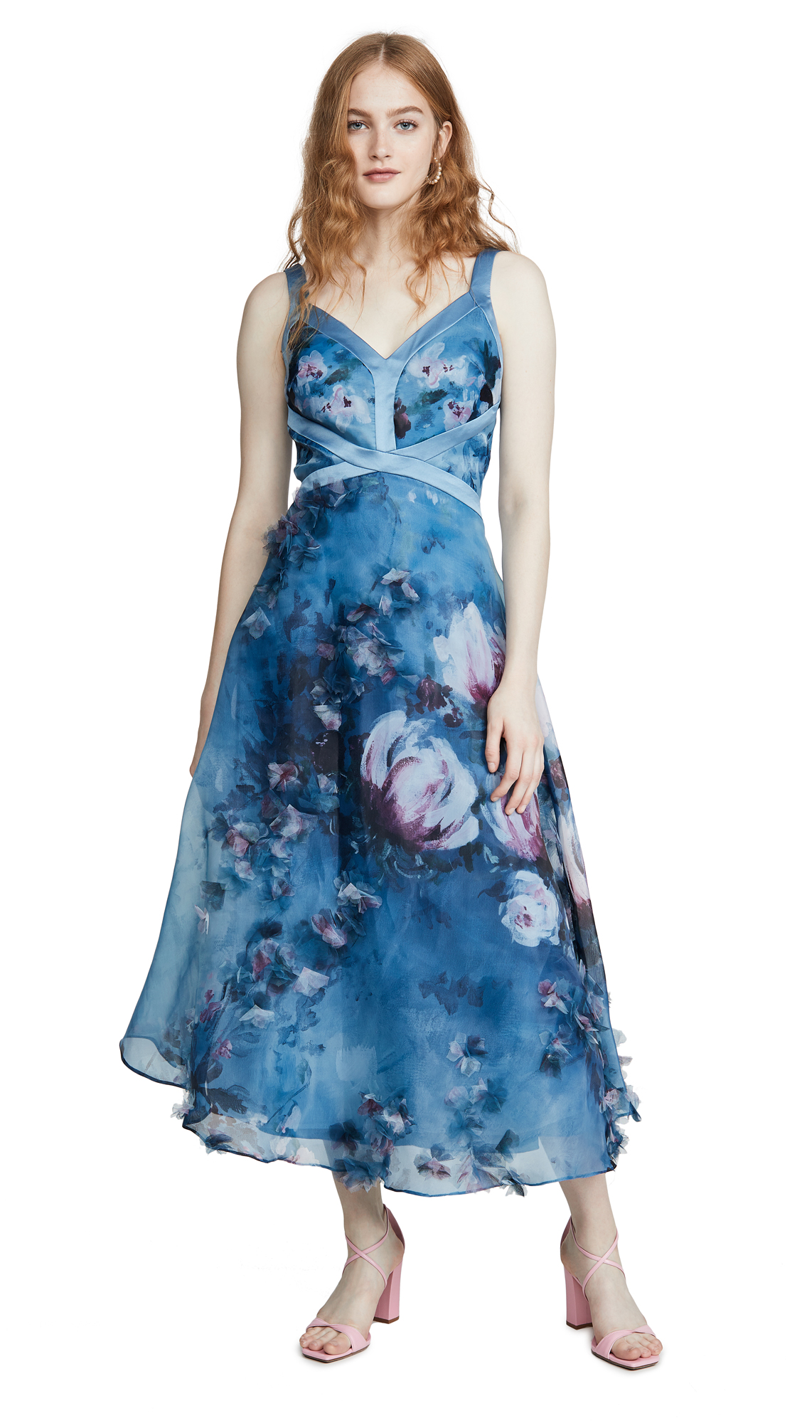 Buy Marchesa Notte Sleeveless Organza Gown with 3D Flowers online beautiful Marchesa Notte Dresses, Strapless
