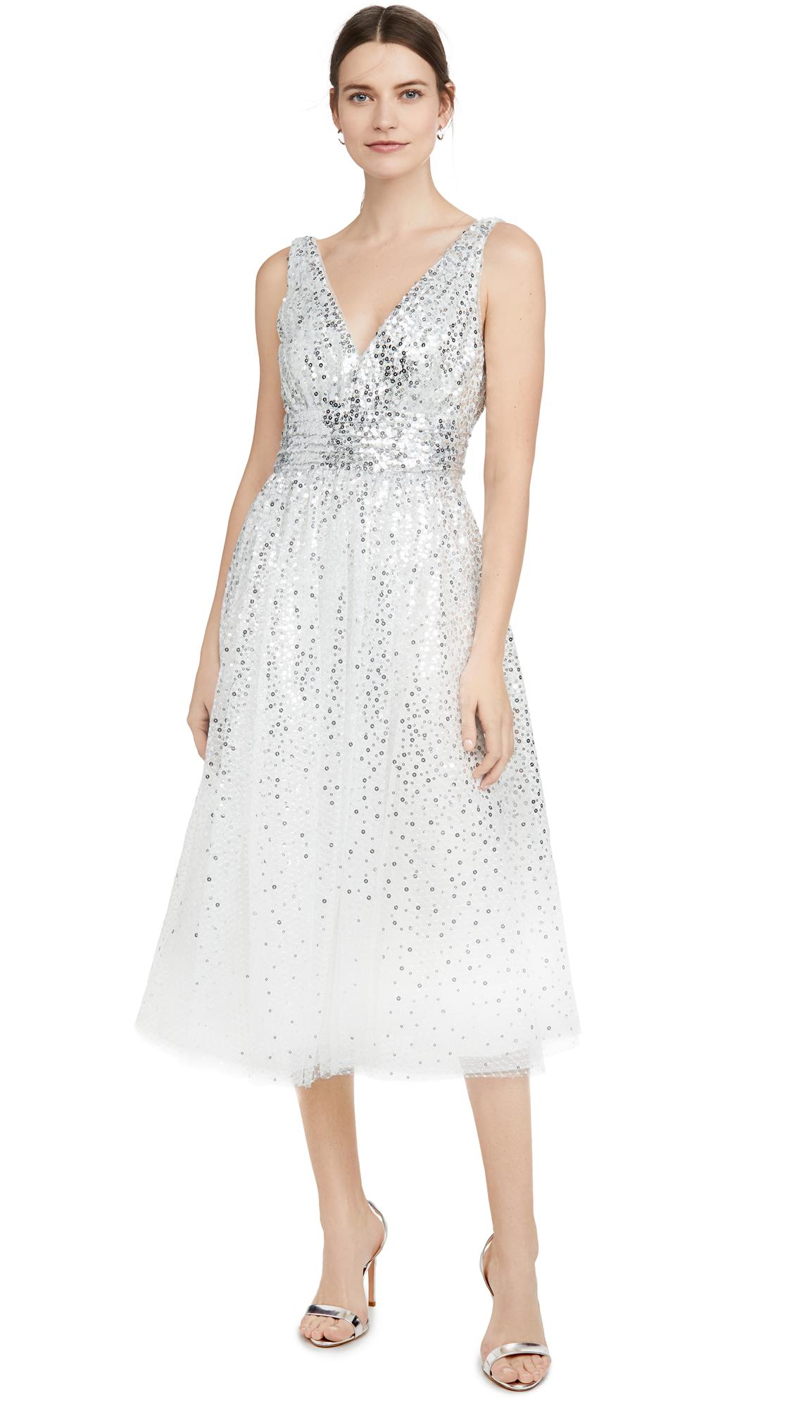 Buy Marchesa Notte Sleeveless V Neck Degrade Sequin Gown Tea Length online beautiful Marchesa Notte Dresses, Strapless