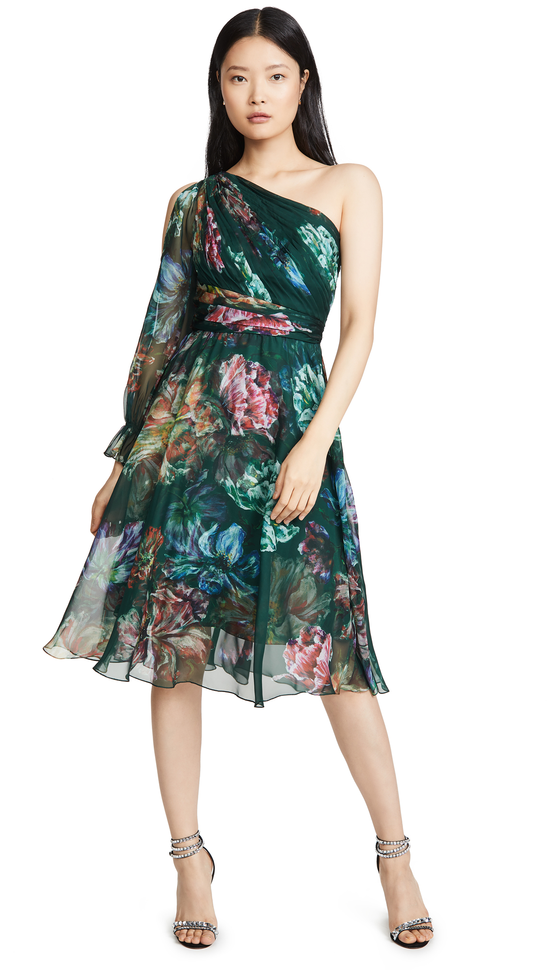 Buy Marchesa Notte online - photo of Marchesa Notte One Shoulder Printed Cocktail Dress